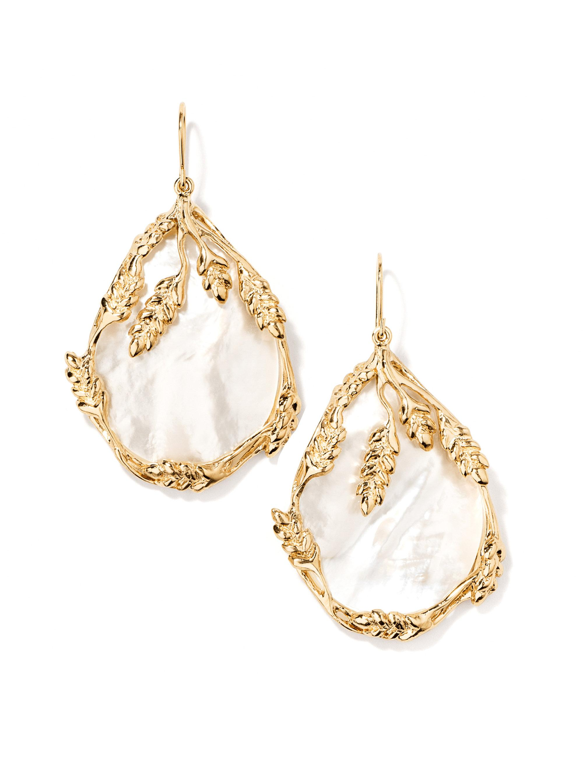Aurélie Bidermann Francoise Pendant Earrings in 18K Gold-Plated Brass and Mother of Pearl