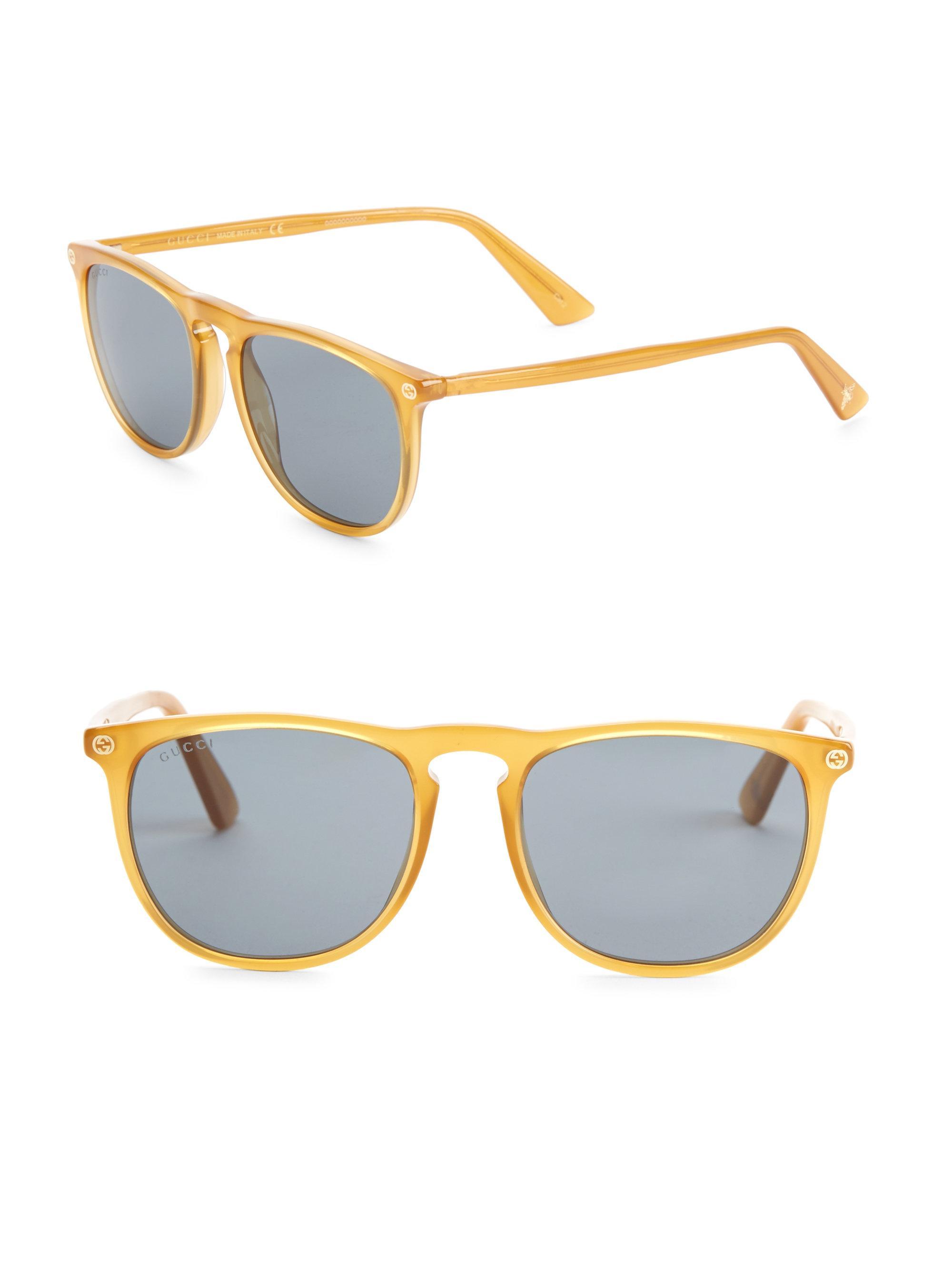 bb4da2900723f Gucci 53mm Round Sunglasses in Yellow for Men - Lyst