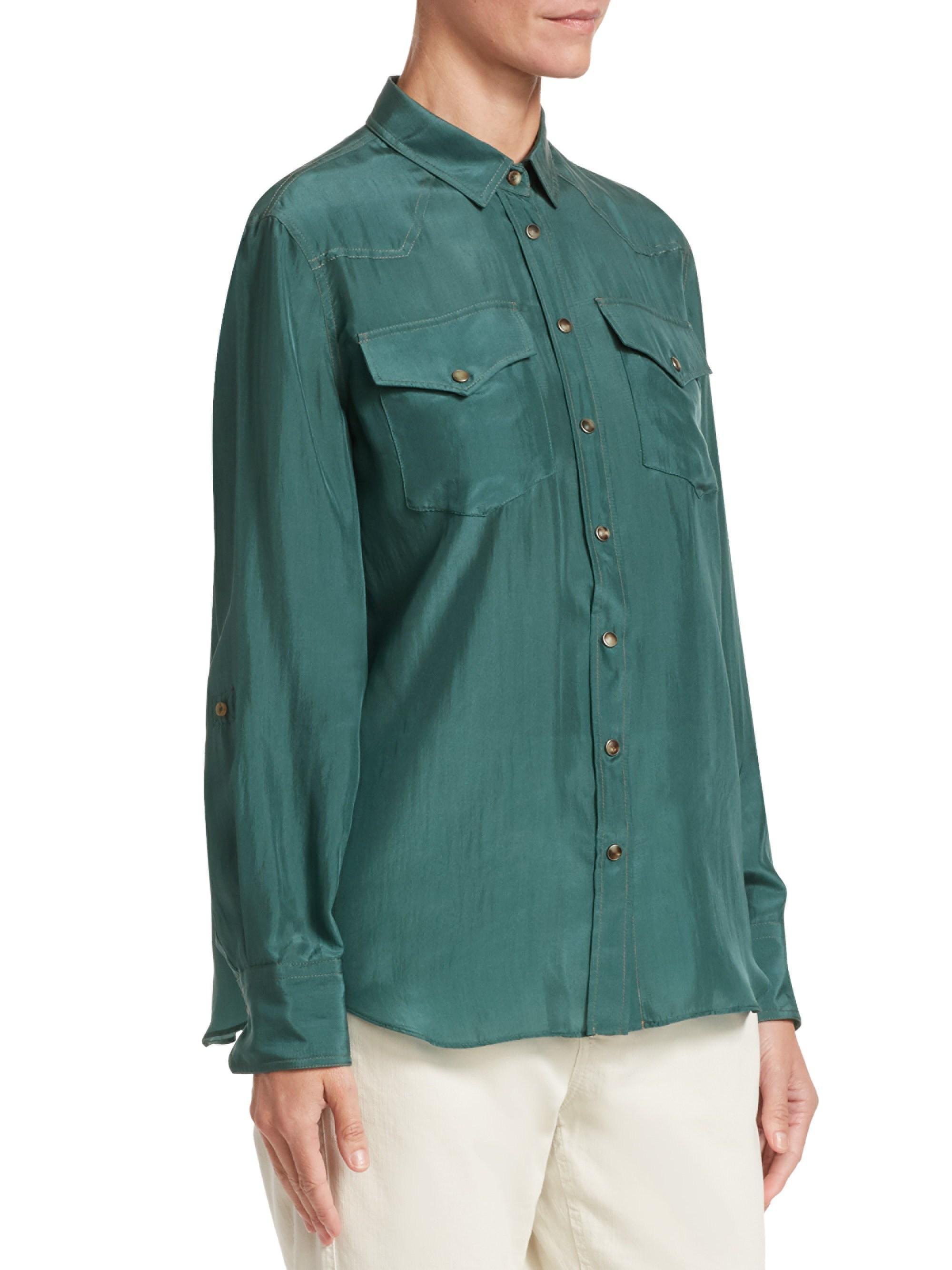 be7a7514a58fdb Lyst - Brunello Cucinelli Women s Silk Western Blouse - Emerald in Green