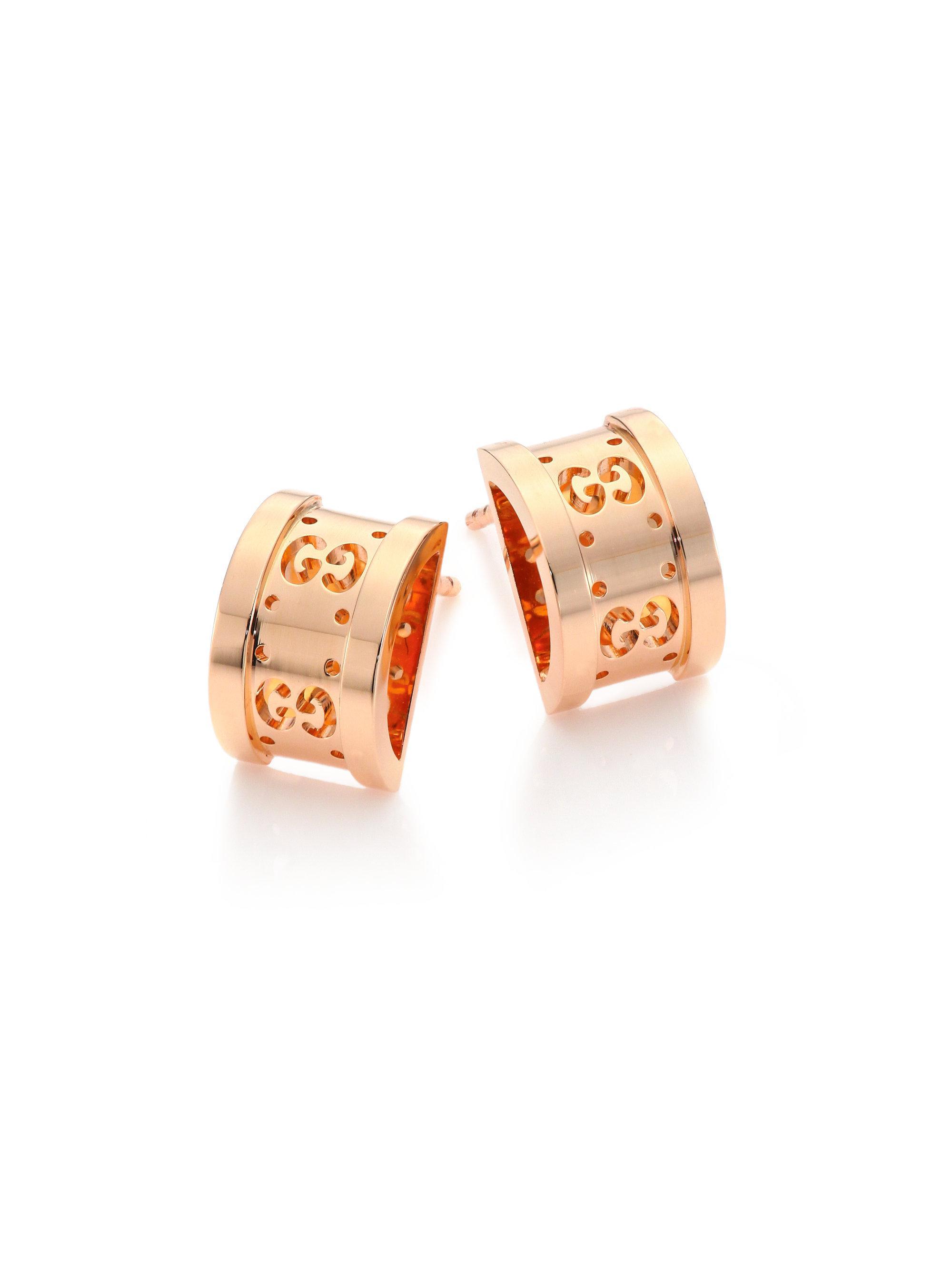 Gucci Women S Pink Icon Twirl 18k Rose Gold Stud Earrings
