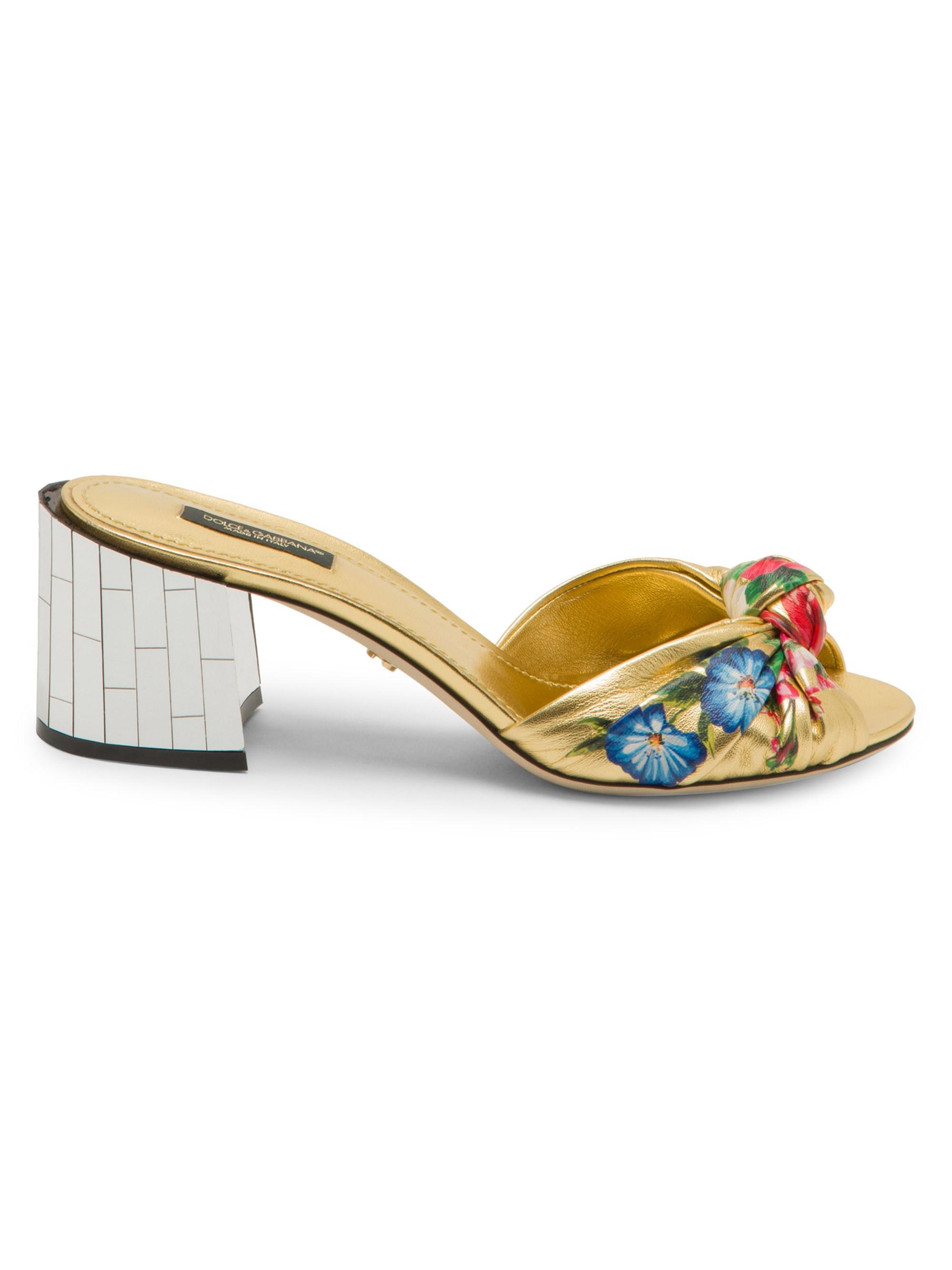 82af3497a68 Lyst - Dolce   Gabbana Women s Floral Knotted Block-heel Slides ...
