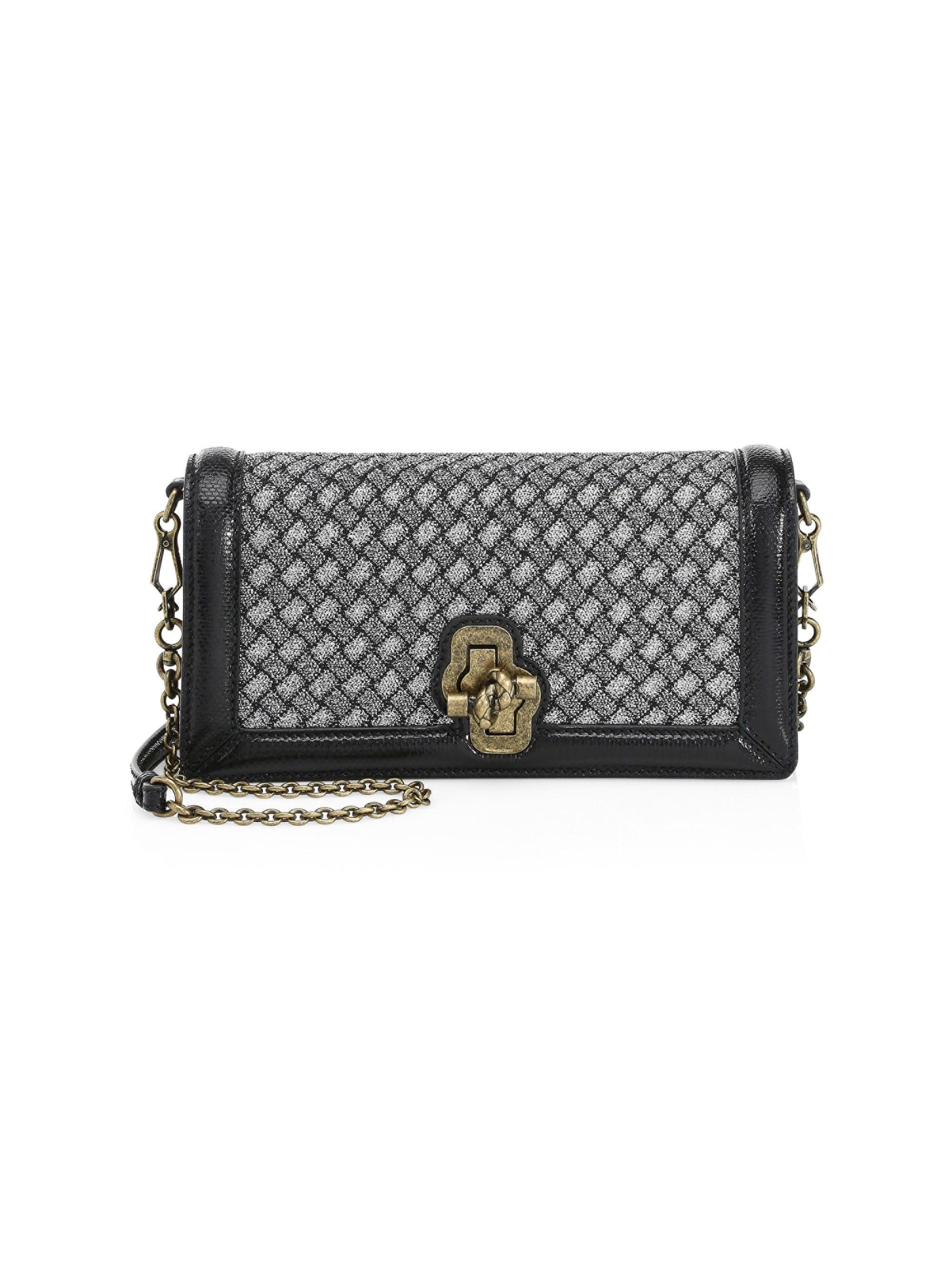 5f4c4348520b9 Bottega Veneta Knot Woven Clutch in Metallic - Lyst