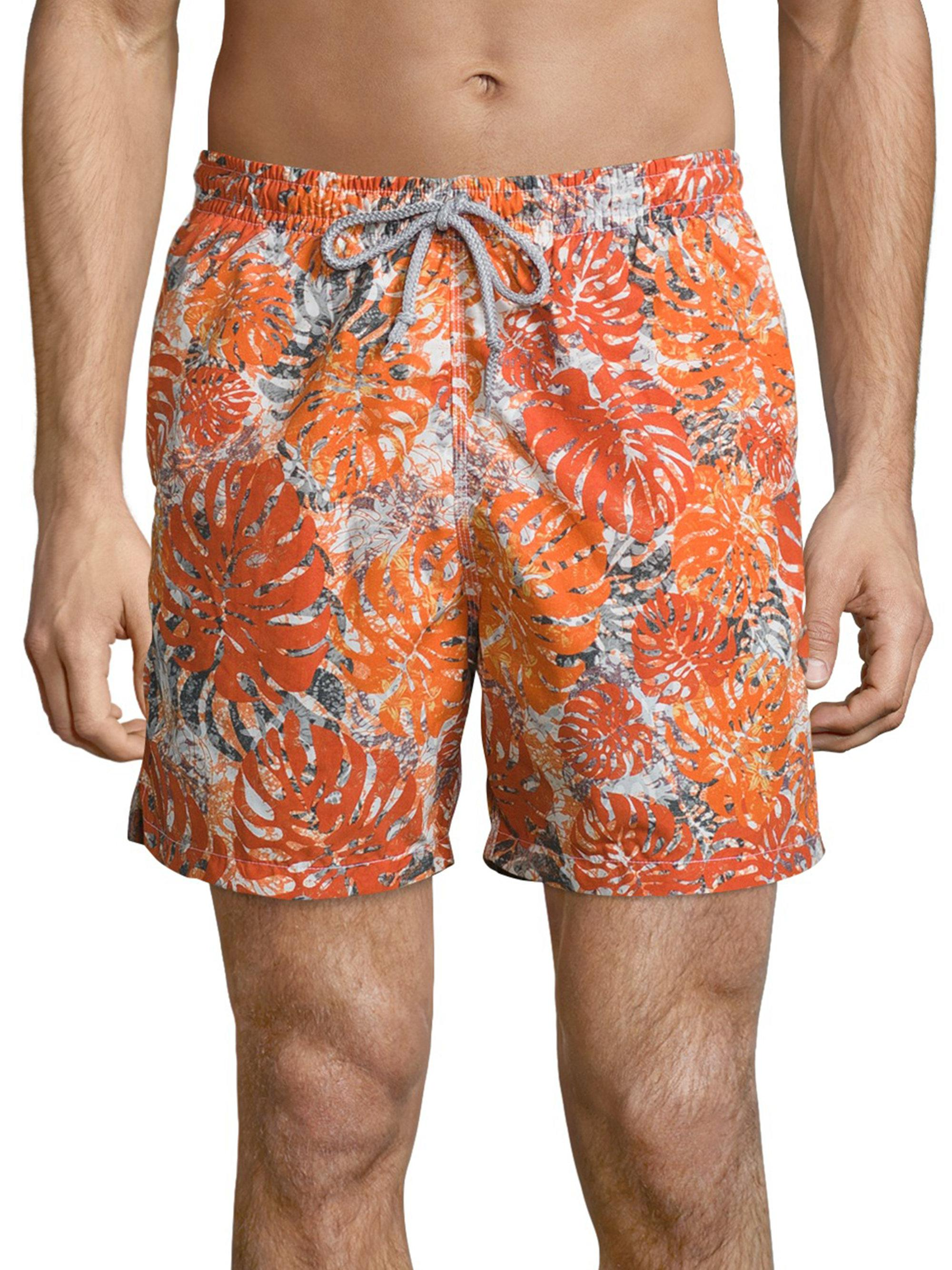 Saks Fifth Avenue. Men's Orange Palm Leaf Camo Printed Swim Shorts