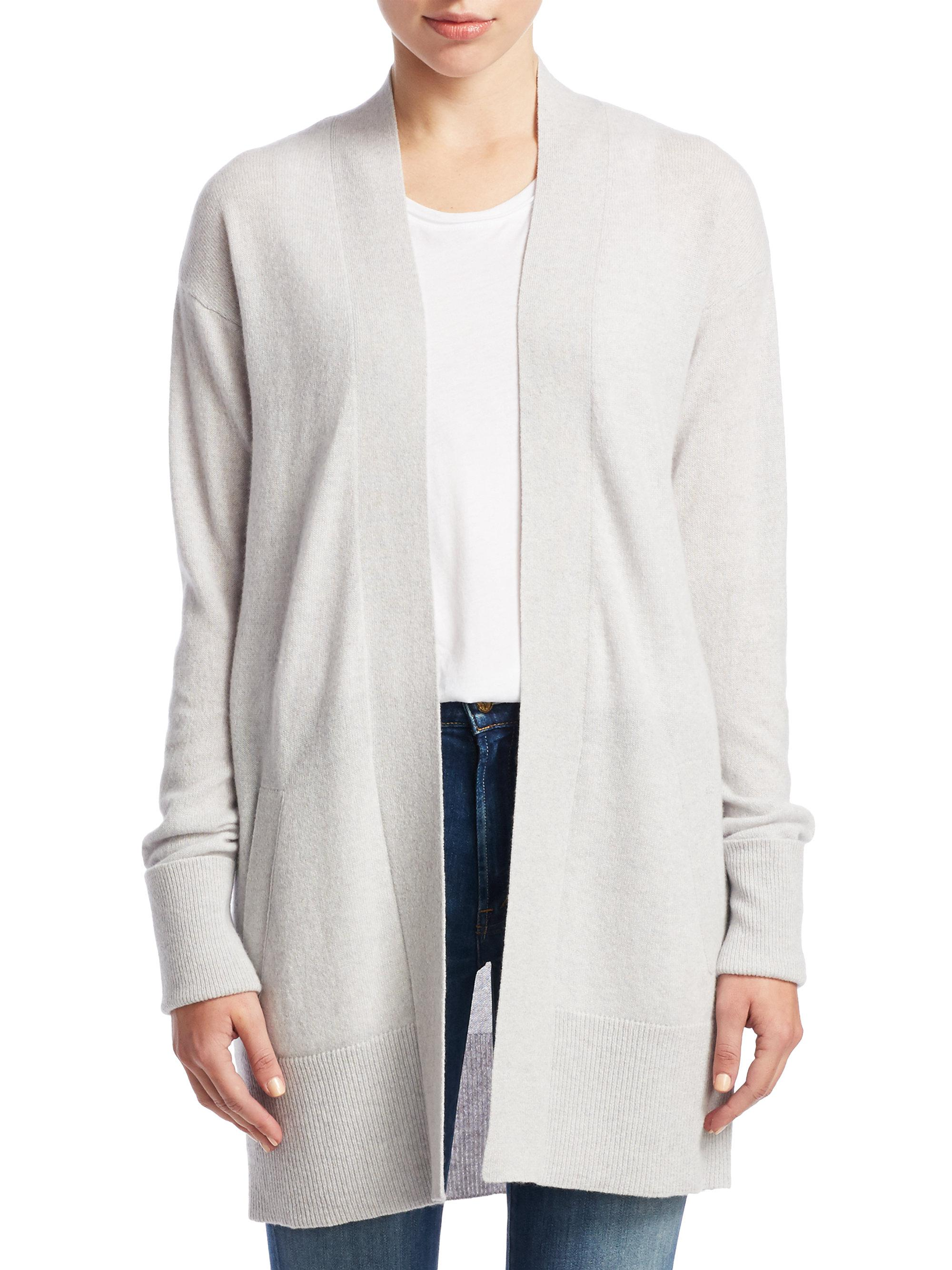 d9b06d9f0d Lyst - Theory Relaxed Open Front Cashmere Cardigan in Gray