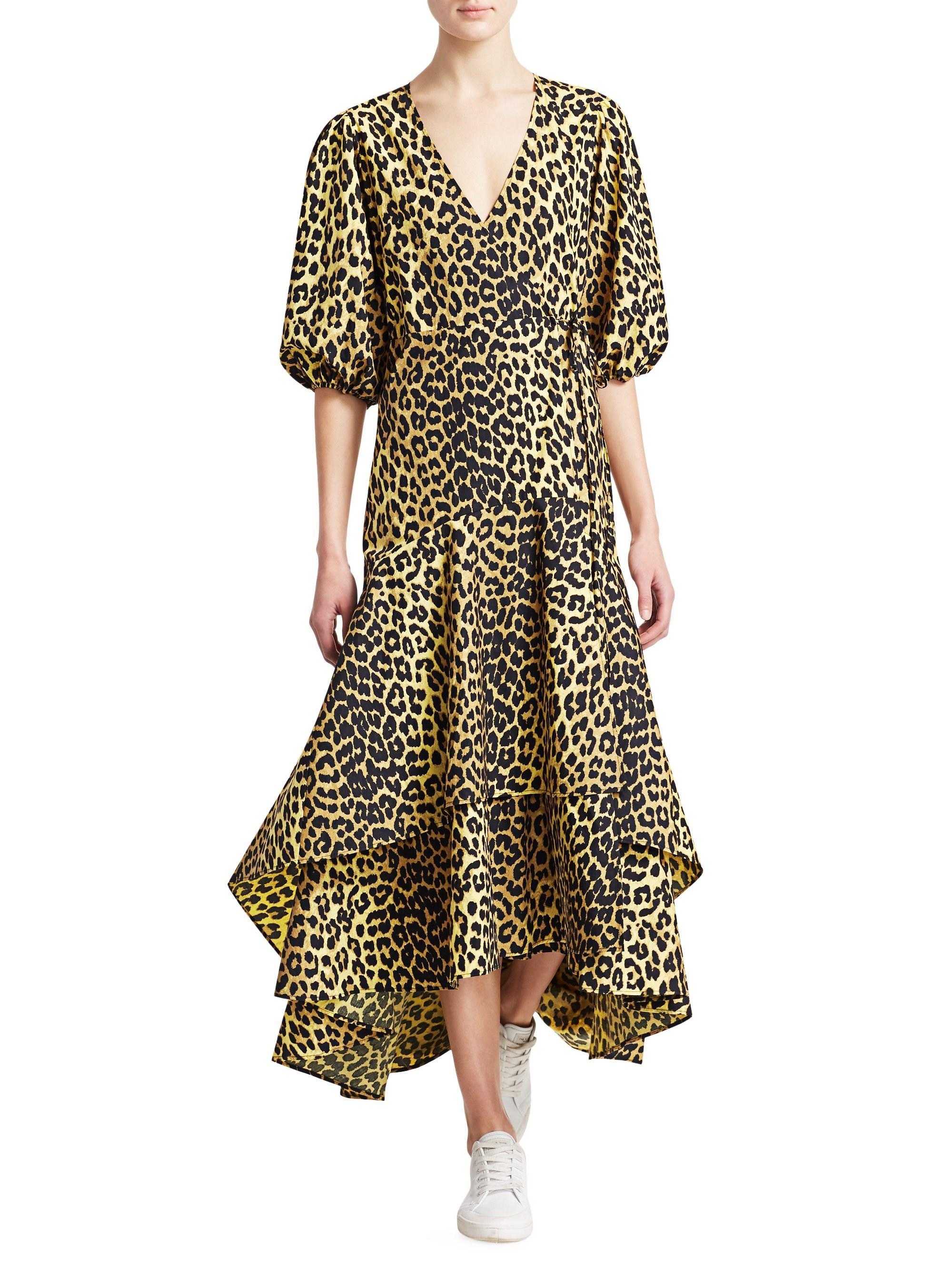 8a147728 Ganni - Yellow Printed Cotton Wrap Dress - Lyst. View fullscreen