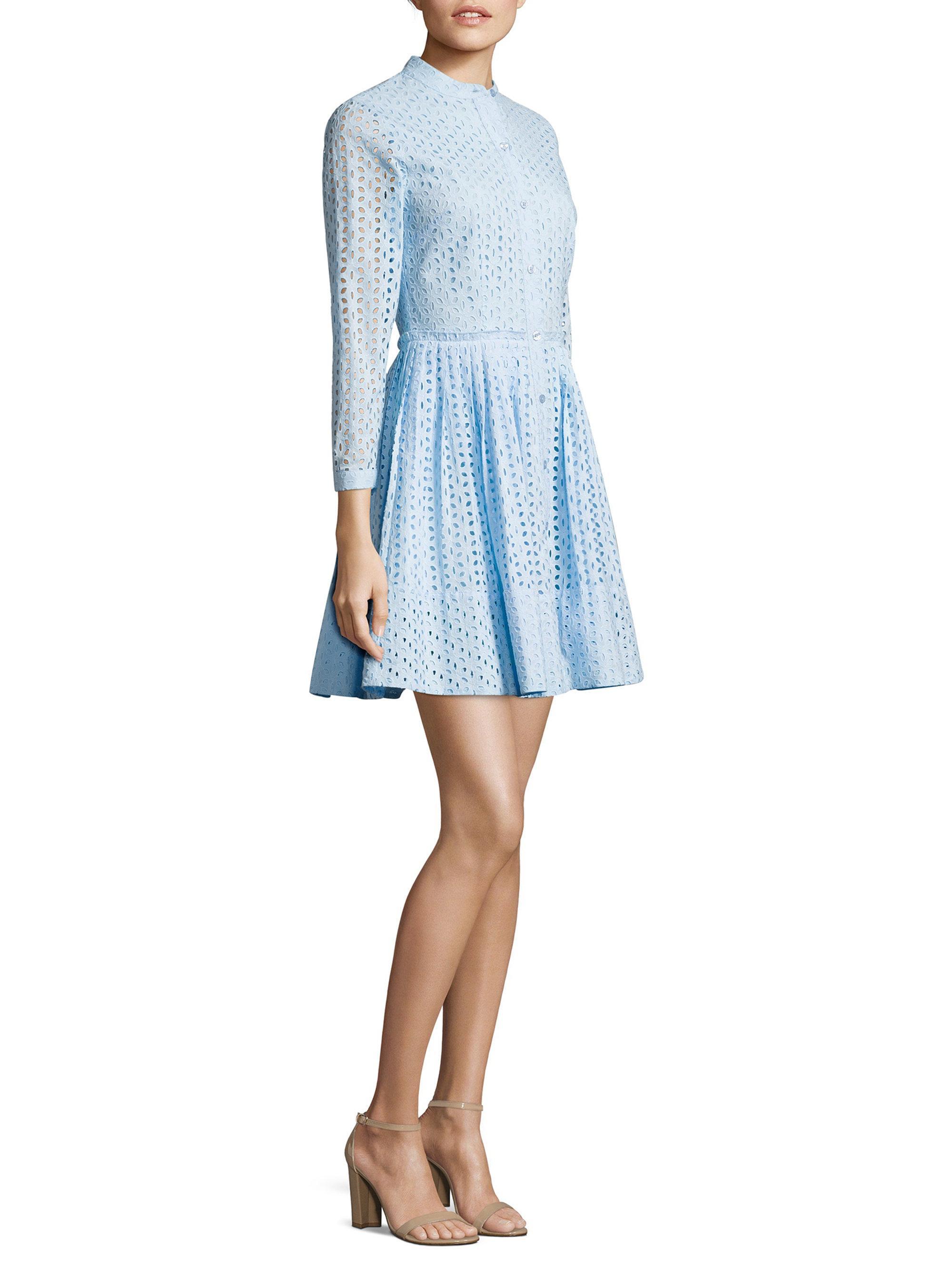 f72fcd735b2d MICHAEL Michael Kors Daisy Eyelet Shirtdress in Blue - Lyst