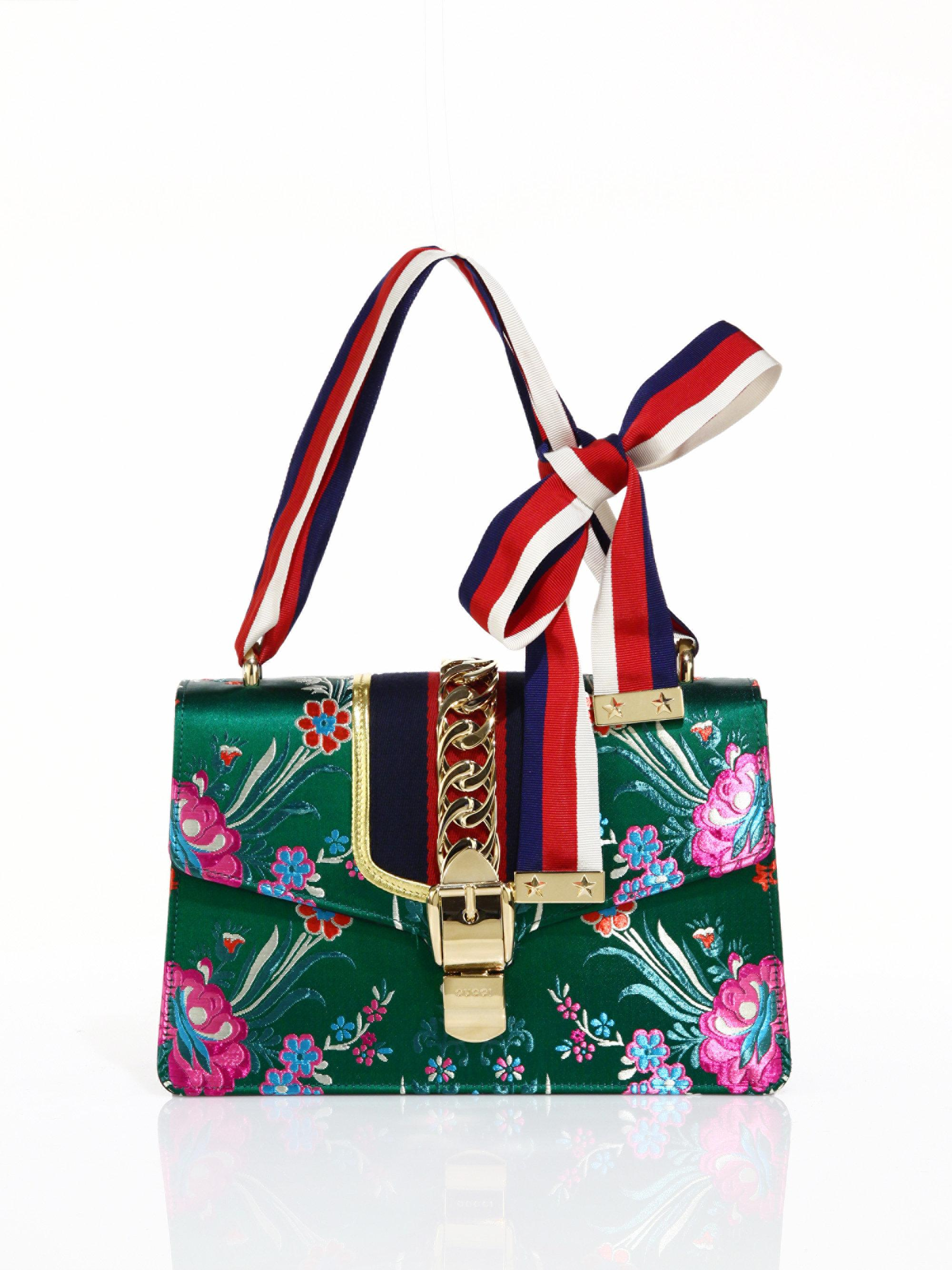 aa060c2ee Gucci Sylvie Floral Jacquard Shoulder Bag in Green - Lyst
