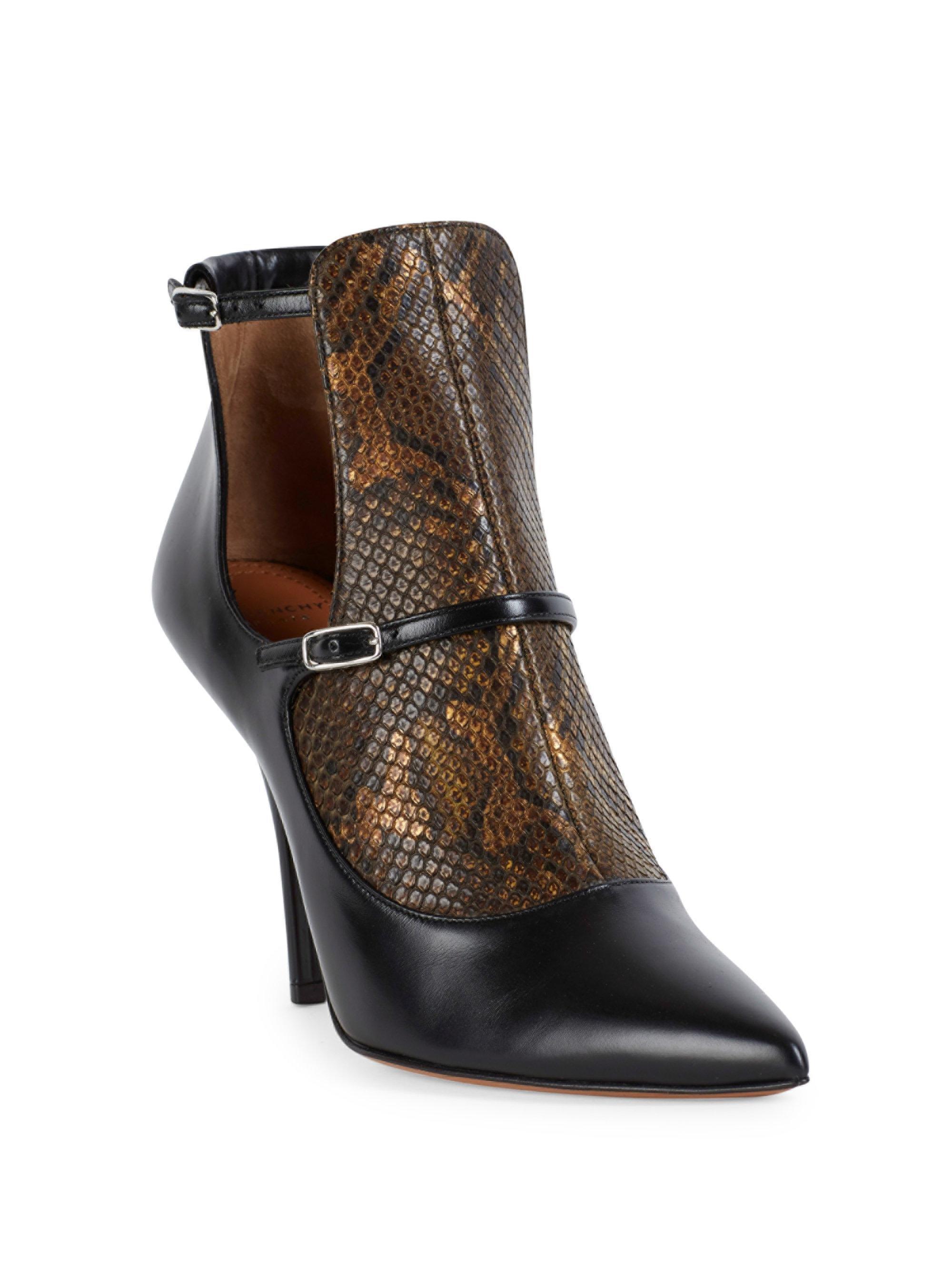 GivenchyNew Feminine Line Python & Leather Cutout Booties Sifq7IXZ