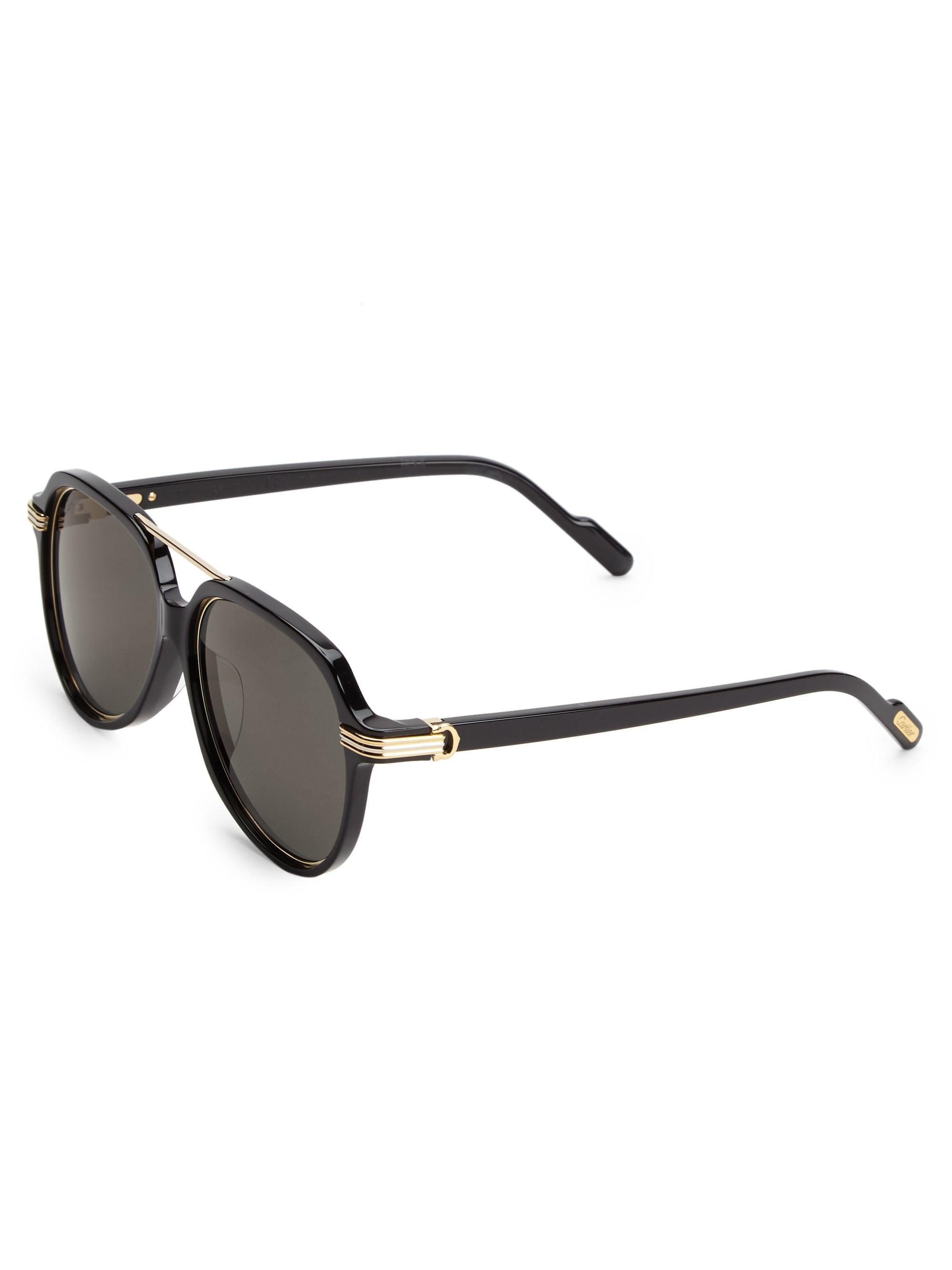 f38763e1d5071 Lyst - Cartier 57mm Aviator Sunglasses in Black