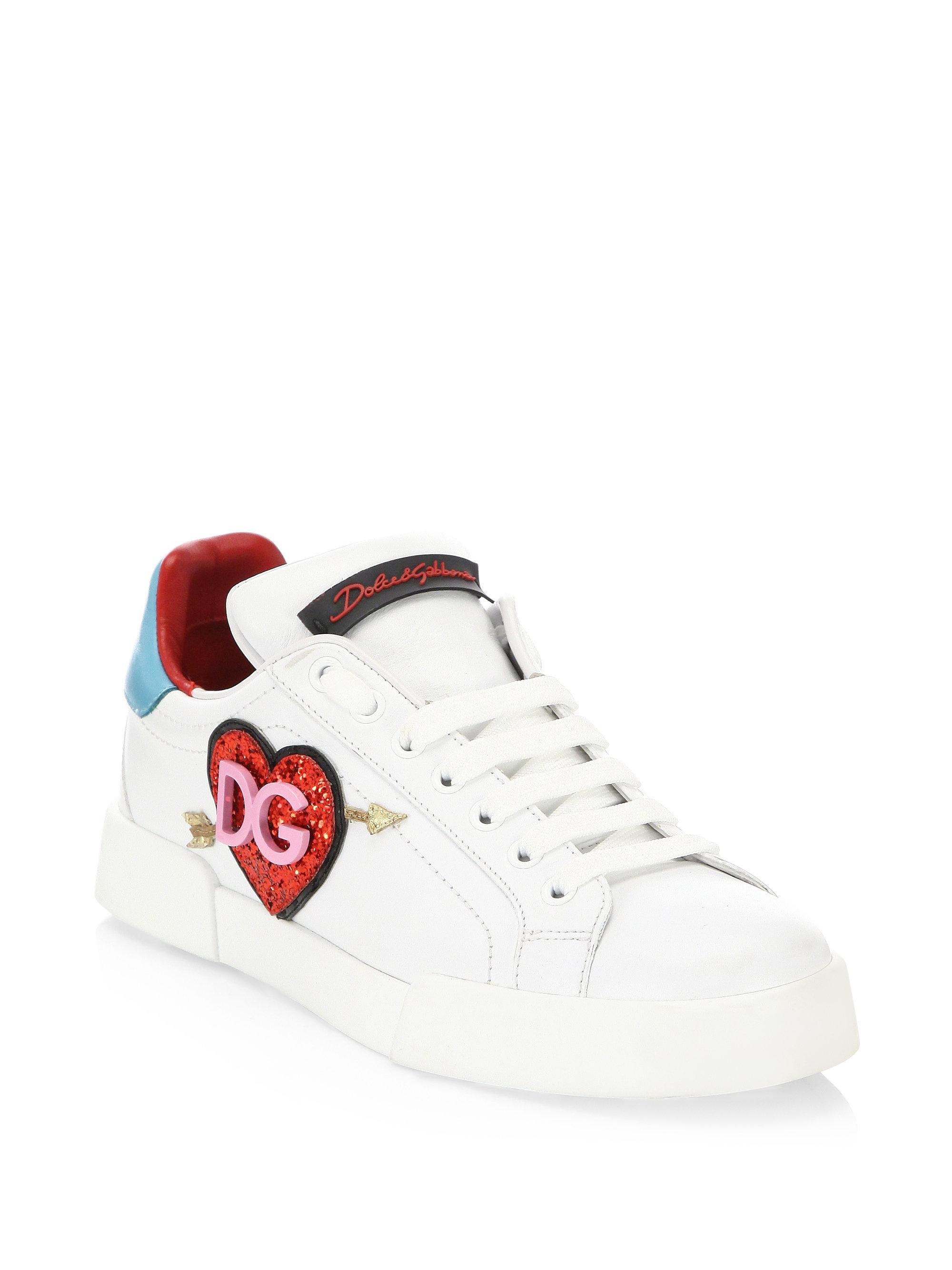 Dolce & Gabbana Glitter Heart Logo Leather Sneakers