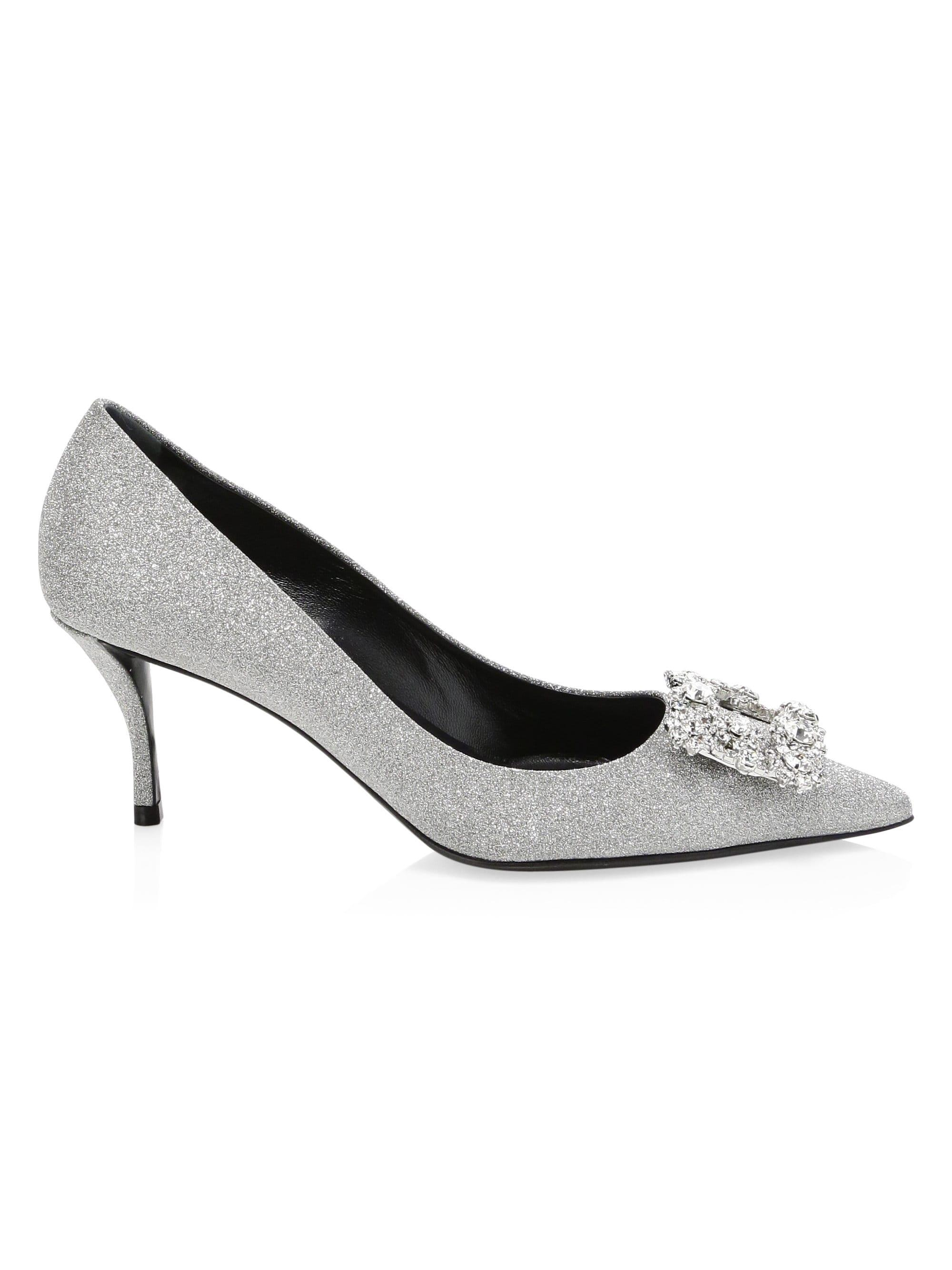 ea4af7bb6d8 Roger Vivier Glitter Fabric Flower-crystal Buckle Pumps in Metallic ...