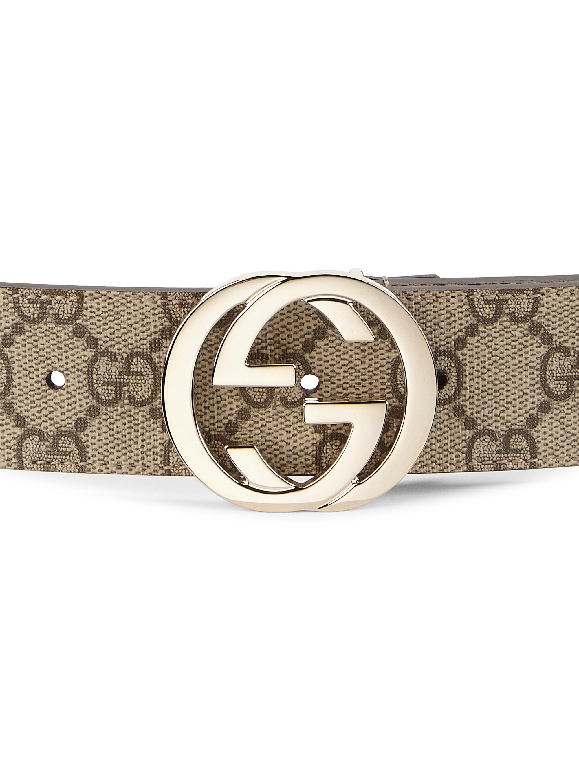 5a1a9db2f53 Gucci Interlocking G Logo Belt in Natural - Lyst