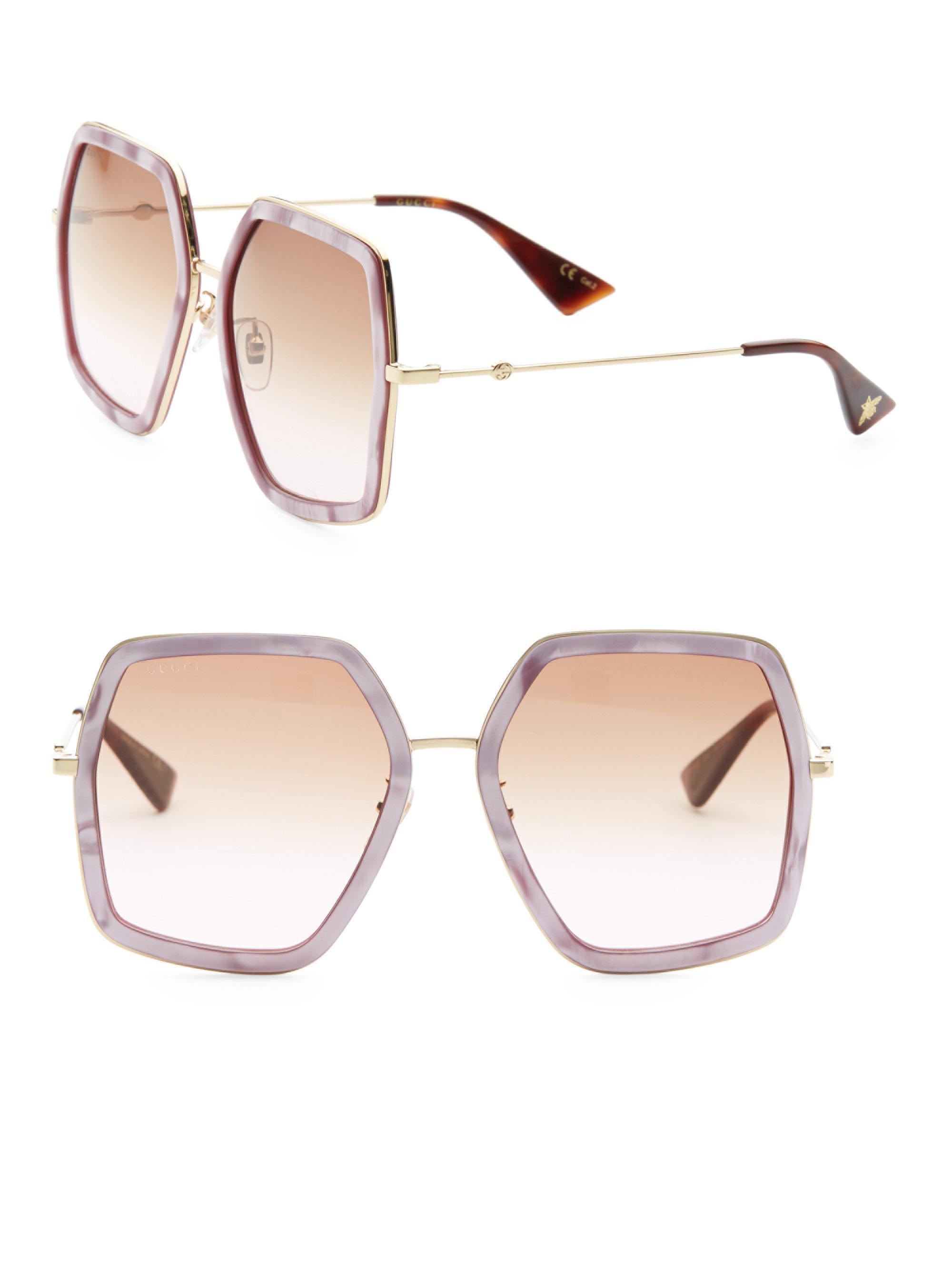 14d9b521b3d Gucci 56mm Geometric Sunglasses in Pink - Lyst