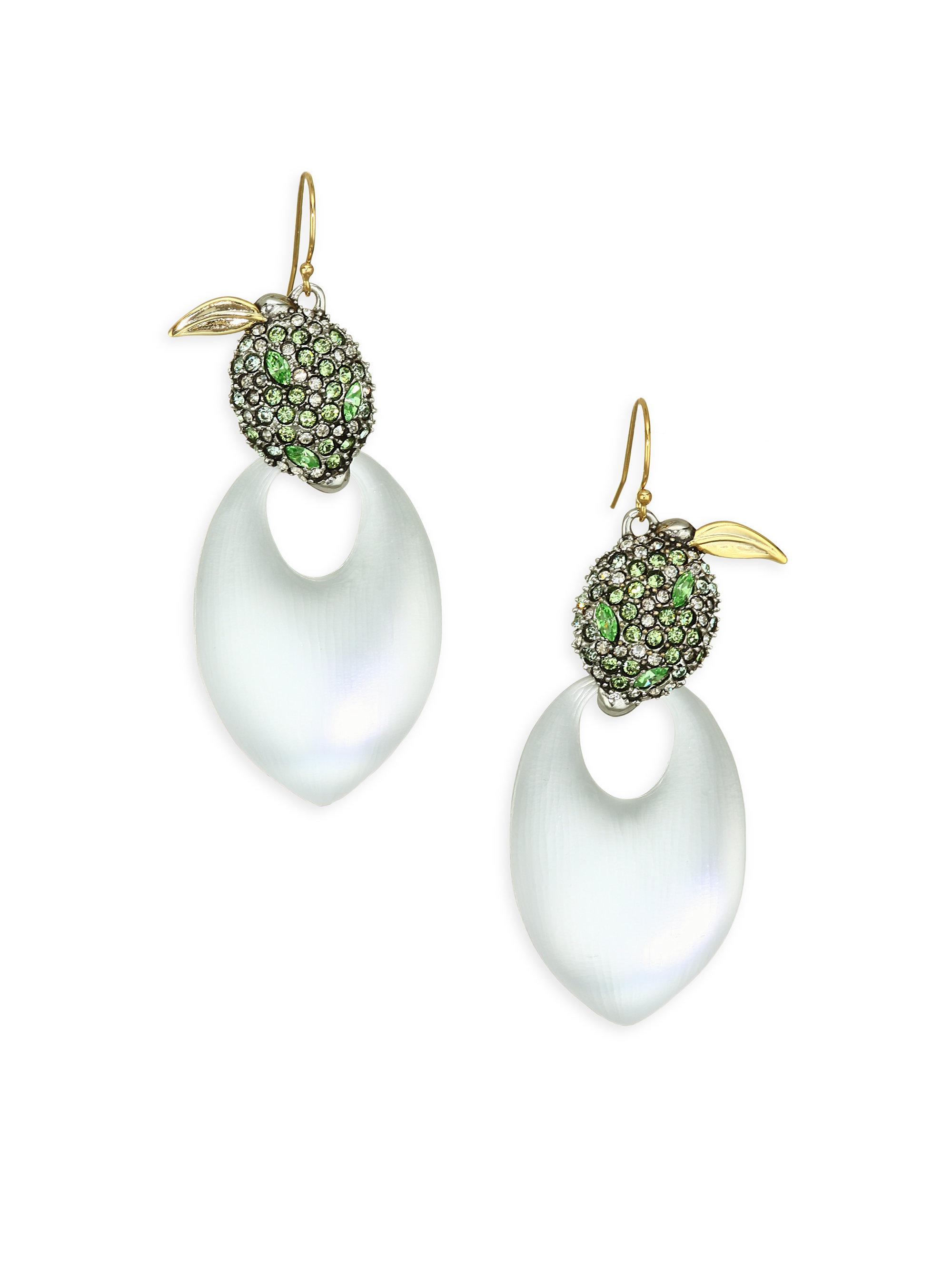 Alexis Bittar Crystal Encrusted Lime Cluster Clip Earring KWQVE