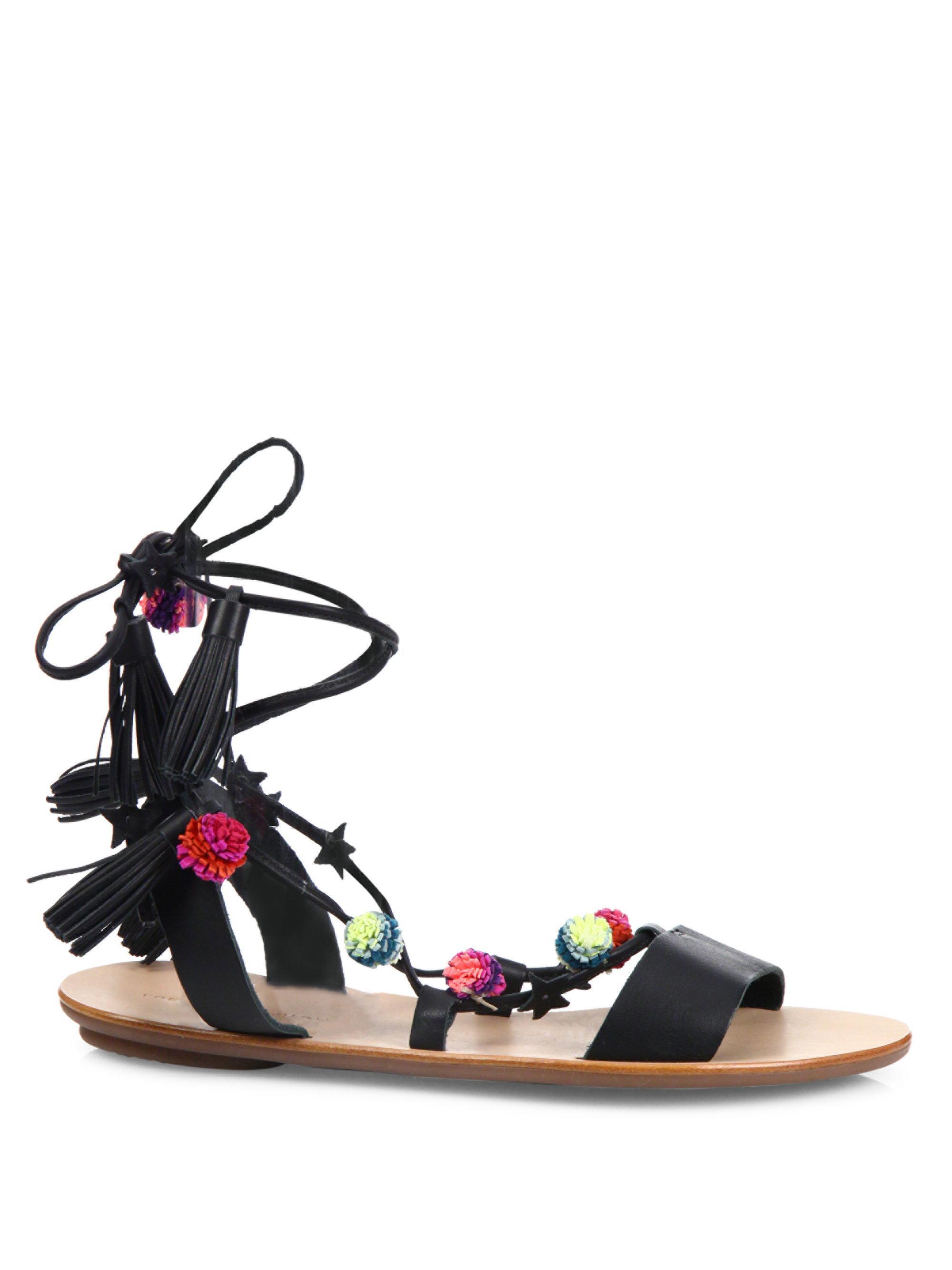 Loeffler Randall - Black Suze Pom-pom Leather Ankle-wrap Sandals - Lyst.  View fullscreen