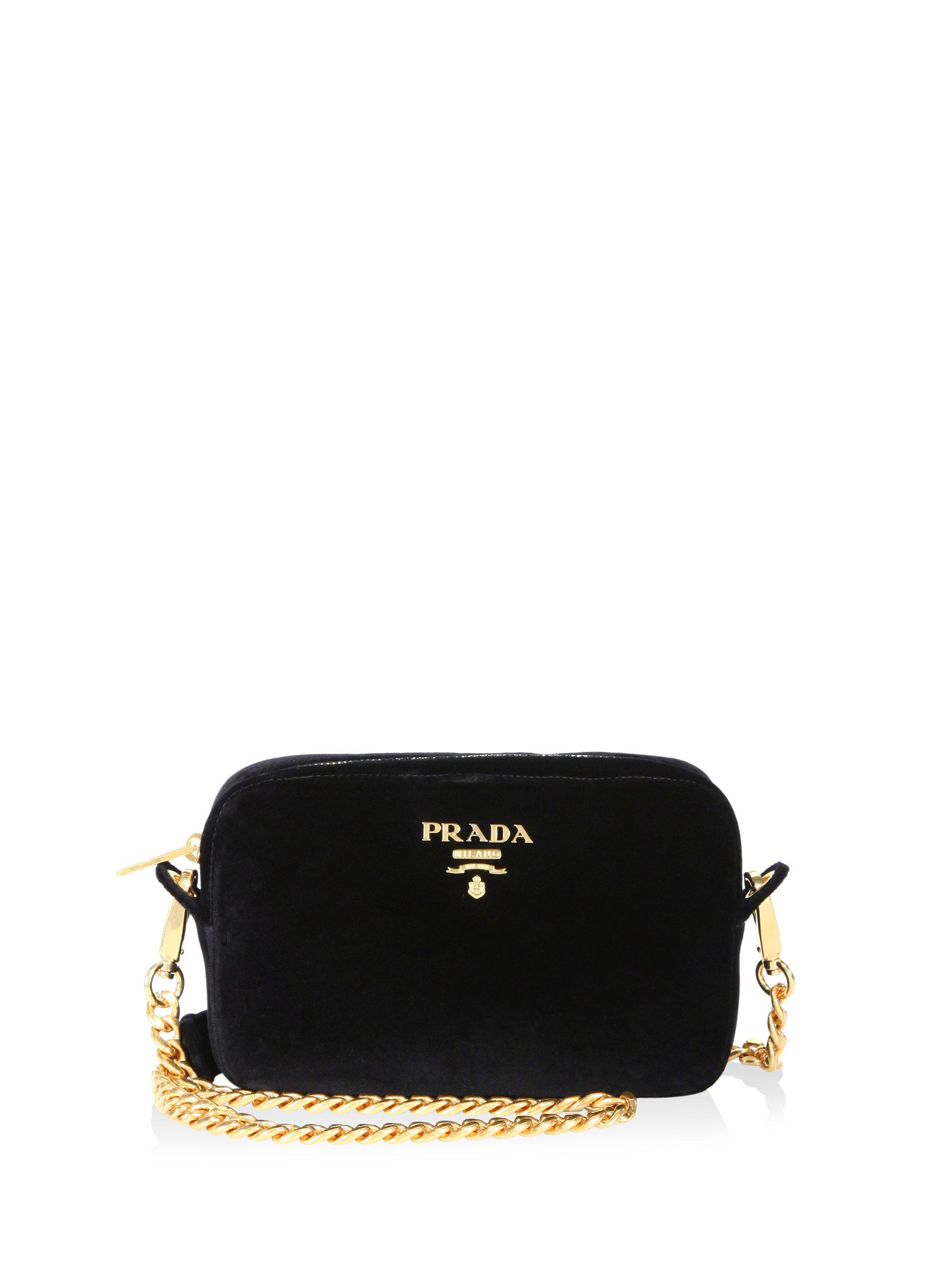bcc26bbffe47 Lyst - Prada Bandoliera Velvet Chain Camera Bag in Black