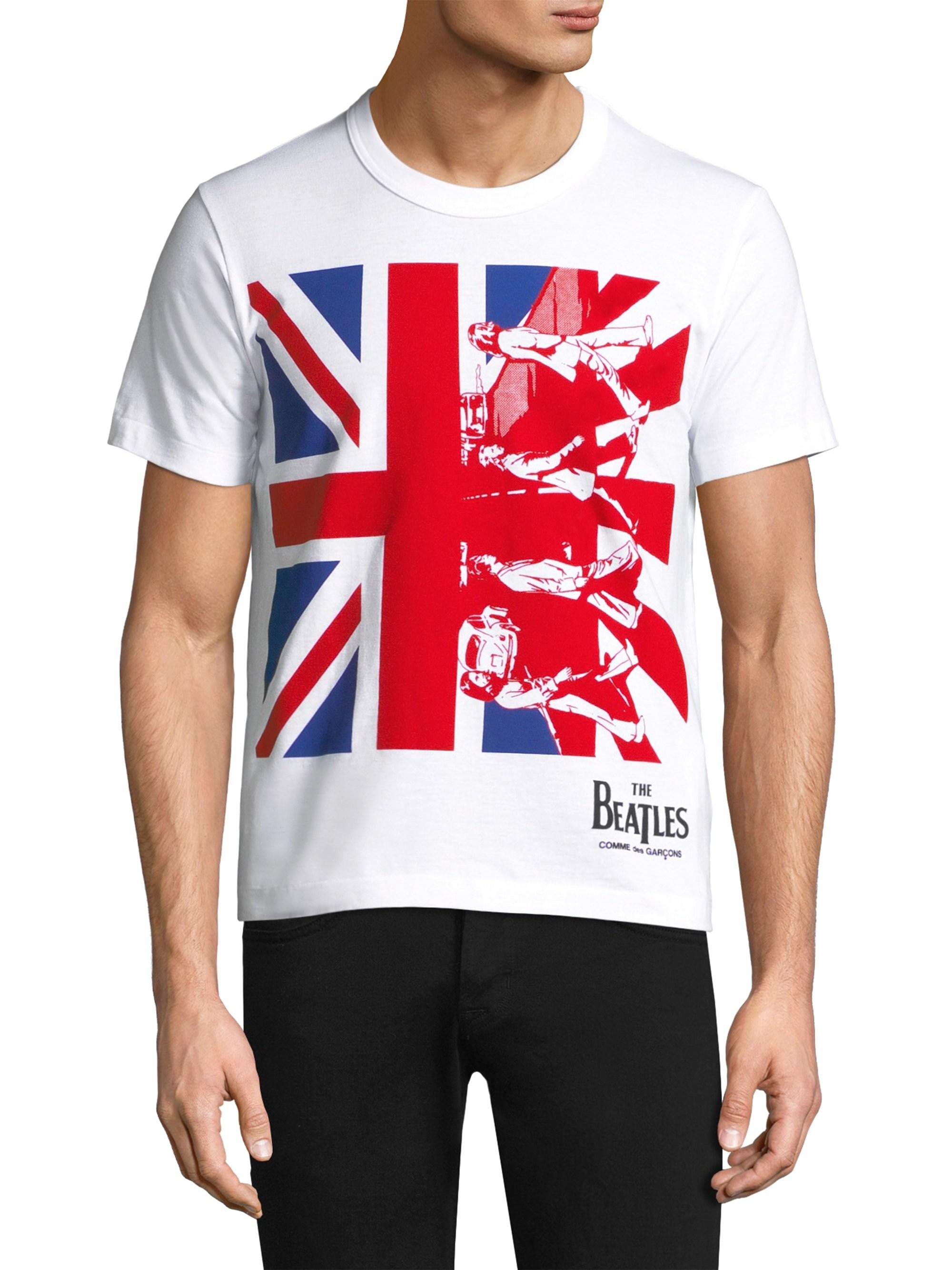 40aea0076 COMME DES GARÇONS PLAY Beatles British Flag Tee in White for Men - Lyst