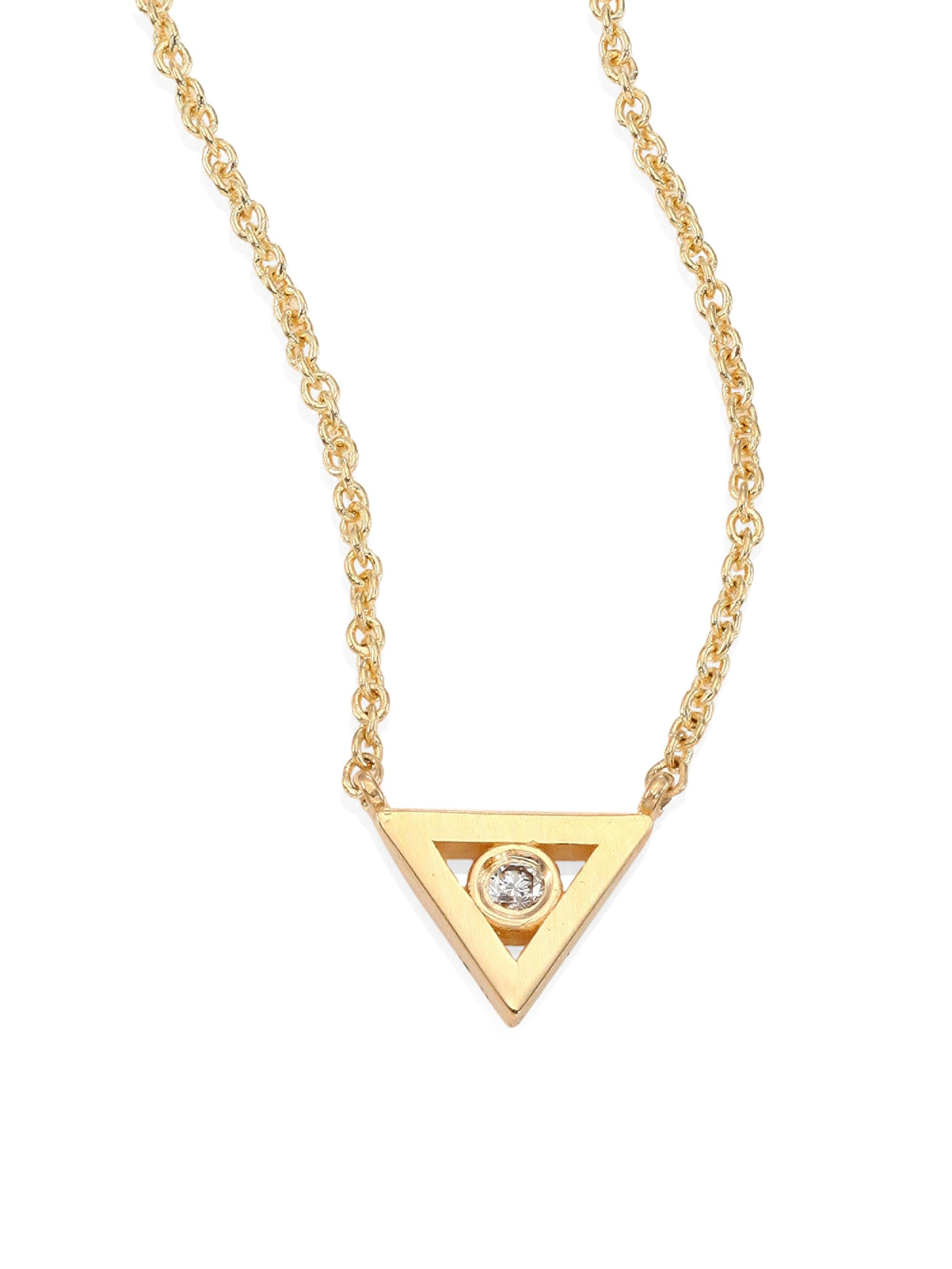 Sydney Evan 14k Diamond Triangle Pendant Necklace n9KtsD91DG