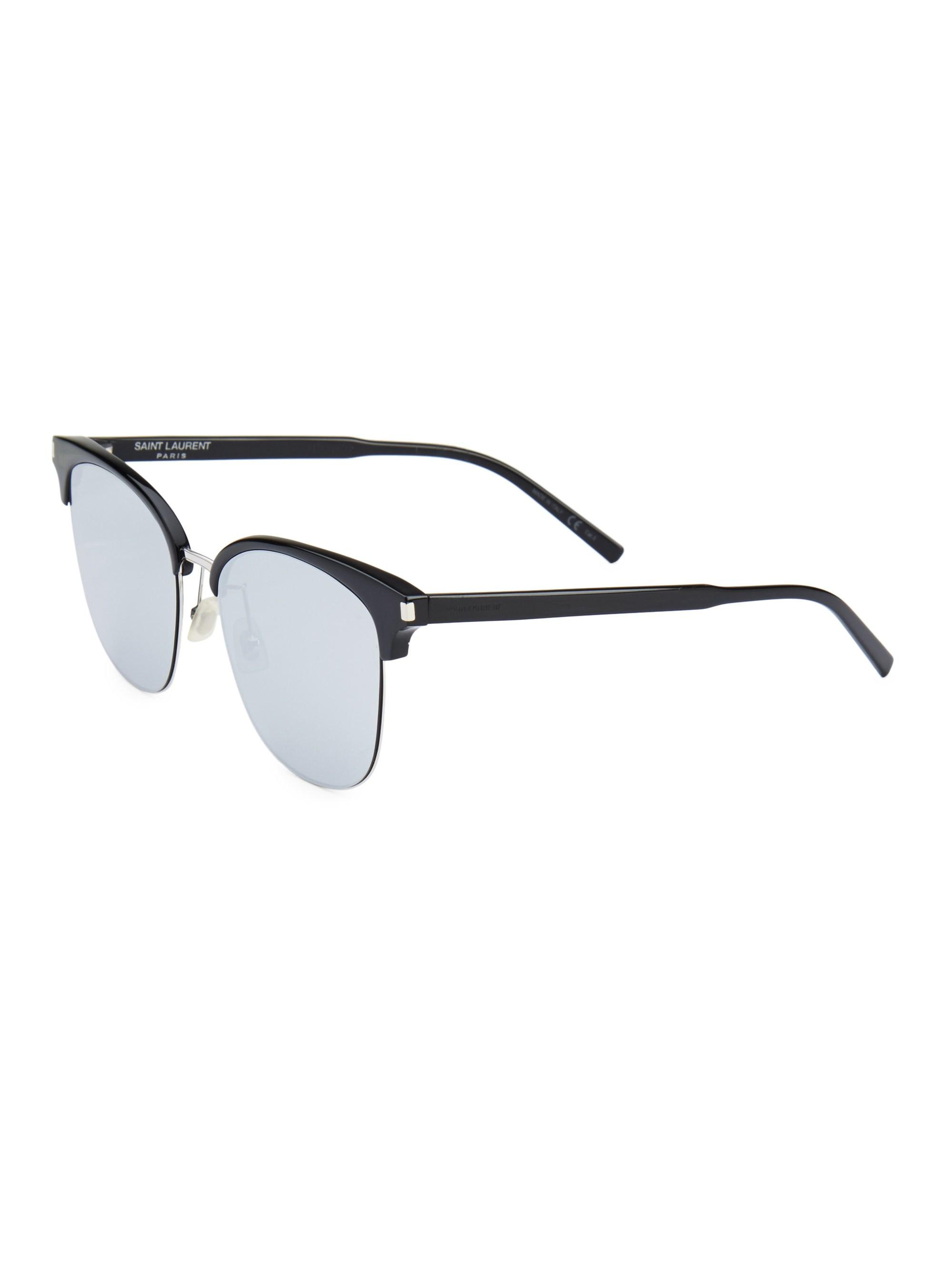 c6ddd4bd87 Saint Laurent - Metallic Men s 57mm Clubmaster Sunglasses - Black Silver  for Men - Lyst. View fullscreen