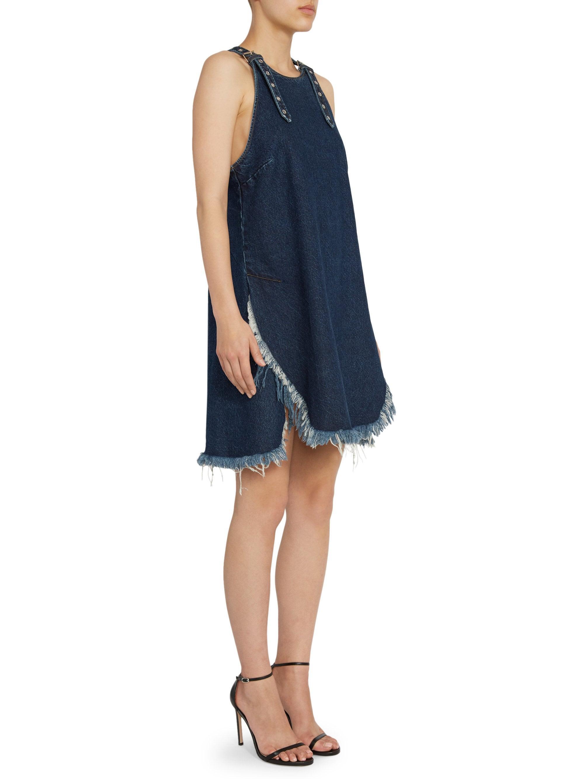 bc21cccd3c7 Lyst - Marques Almeida Janis Strap Denim Shift Dress in Blue