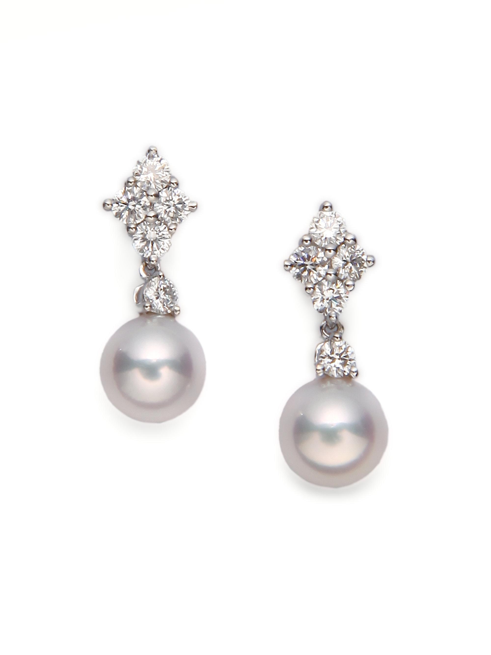 Mikimoto Women S 7 5mm White Cultured Akoya Pearl Diamond 18k Gold Drop Earrings