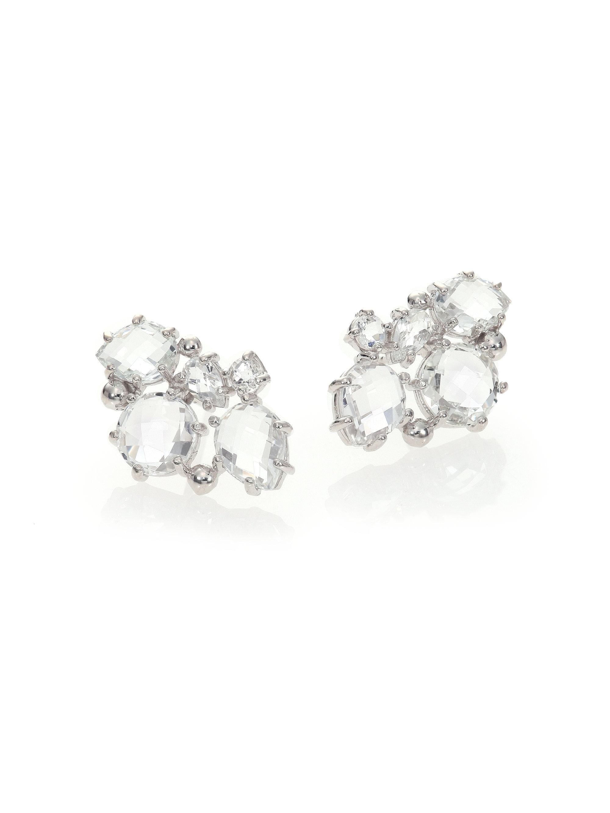 in blue white topaz gold stud diamonds earrings with