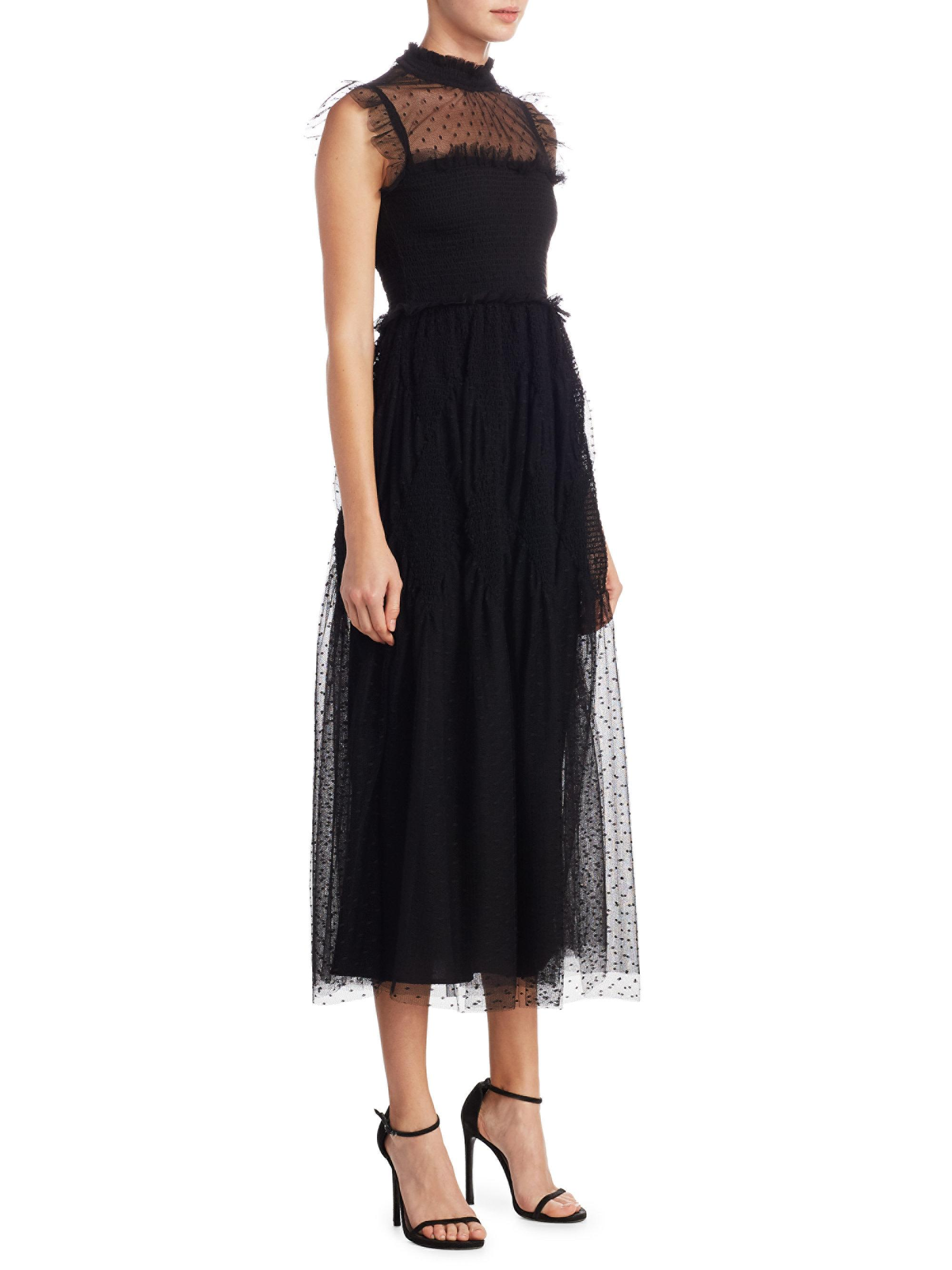 d2192f58fd9 RED Valentino Polka Dot Maxi A-line Dress in Black - Lyst