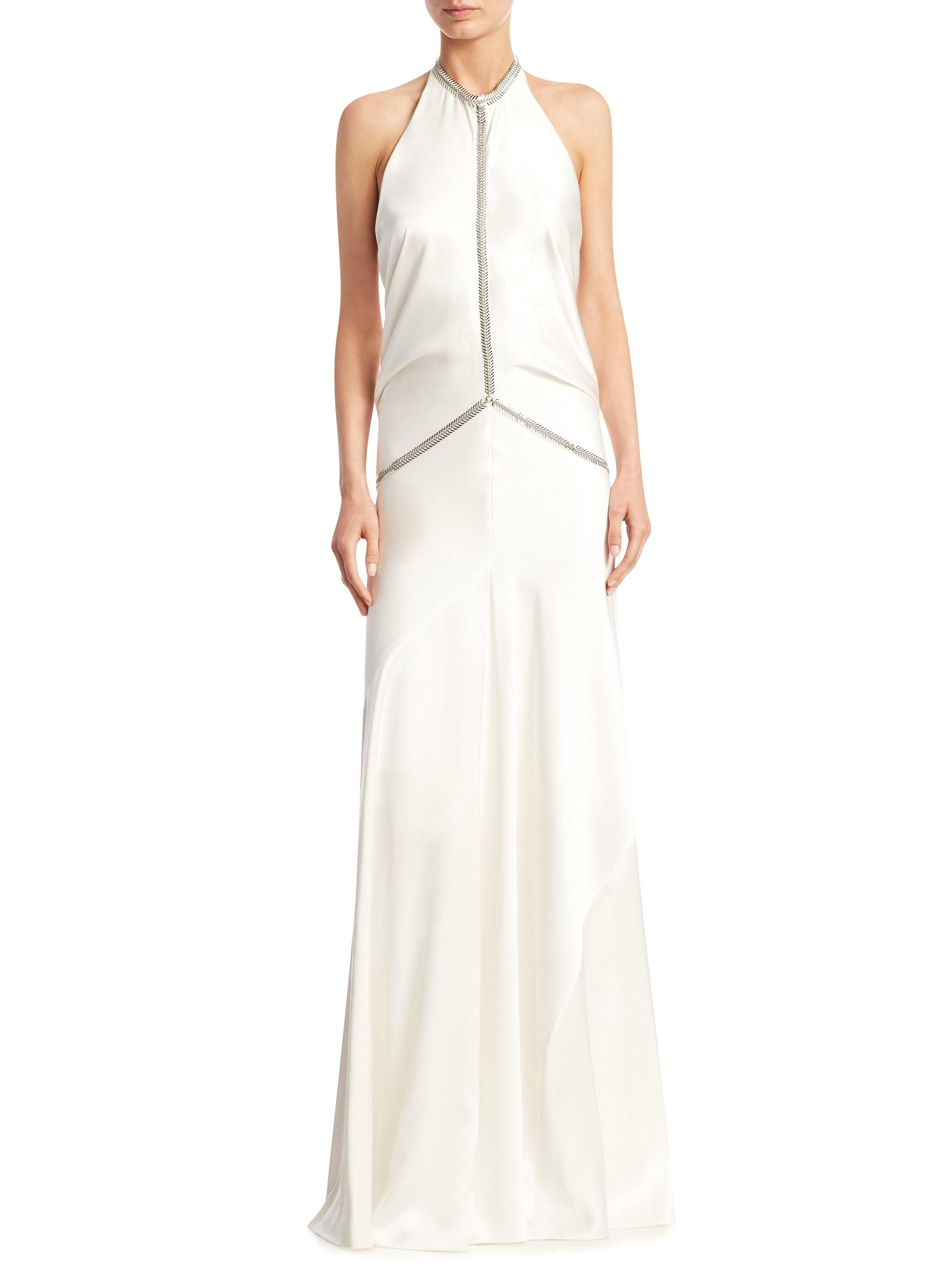 Lyst - Alexander Wang Fishbone Chain Backless Gown in White