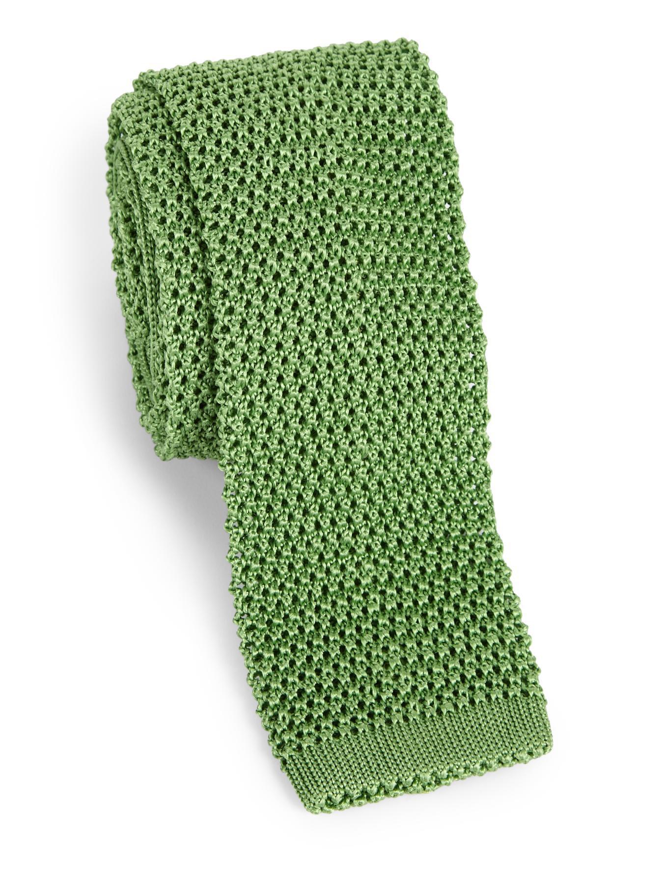 Lyst - Charvet Solid Silk Knit Tie in Green for Men