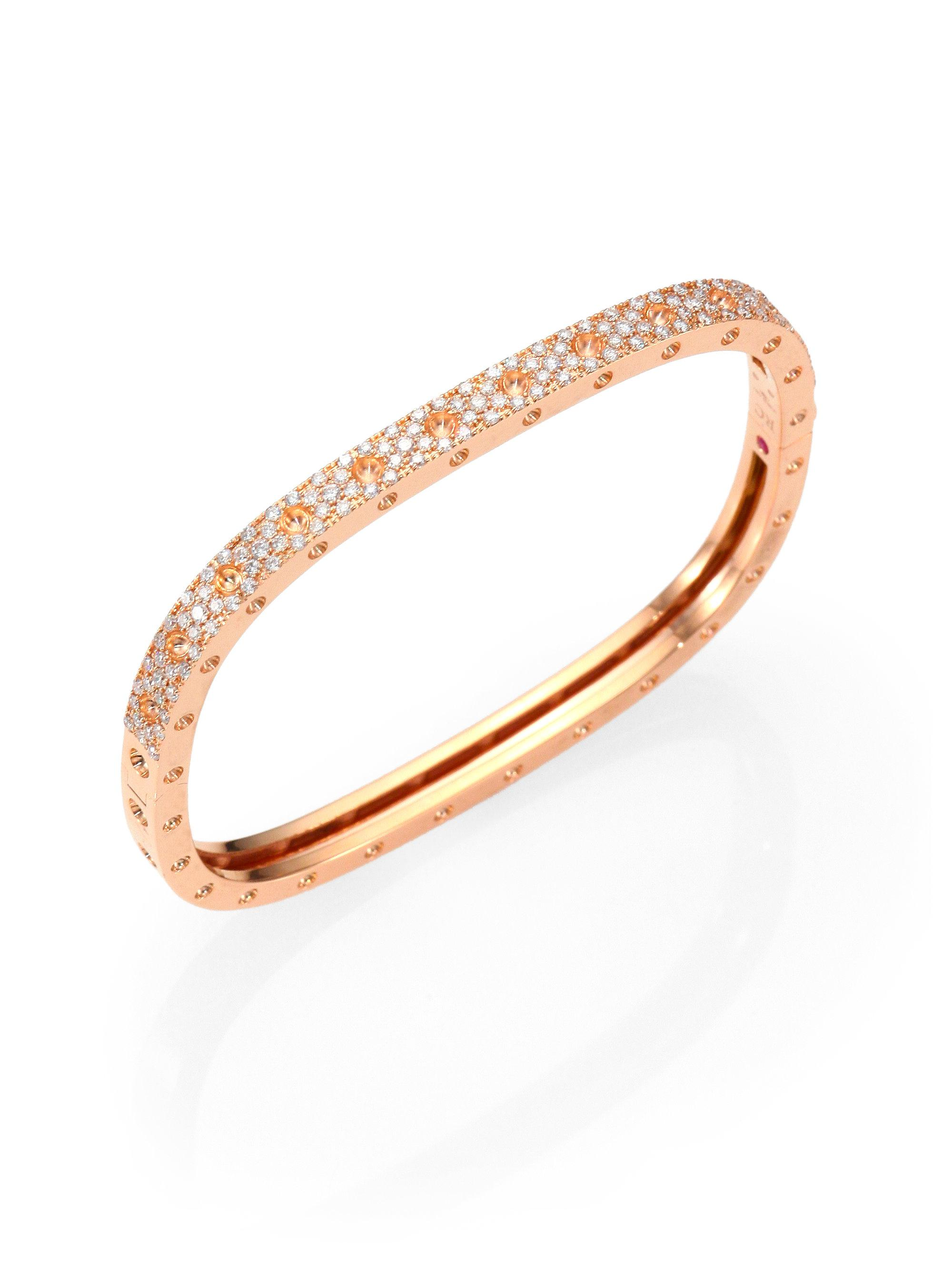 Roberto Coin 18k Gold Split Diamond Pavé Bangle HyNqEbNi
