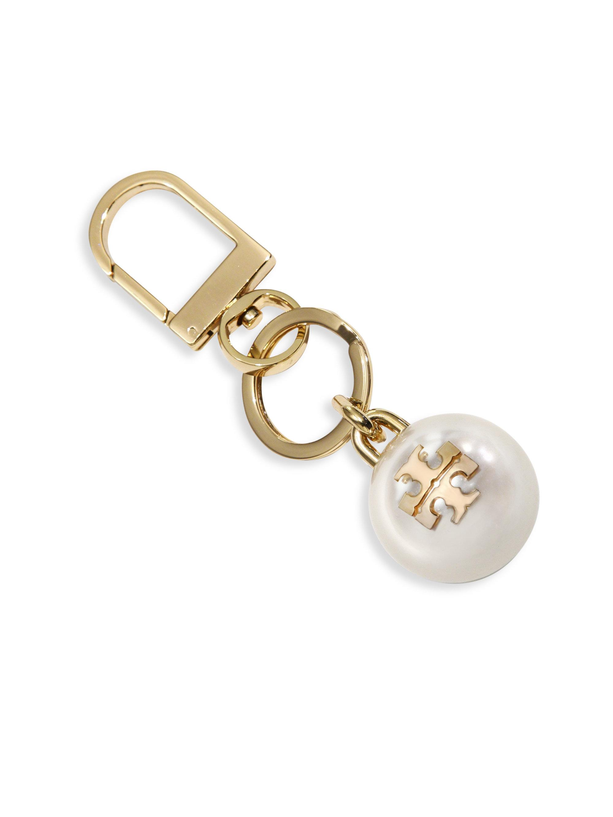 6889430a1bd9 Lyst - Tory Burch Faux-pearl Logo Key Chain in Metallic