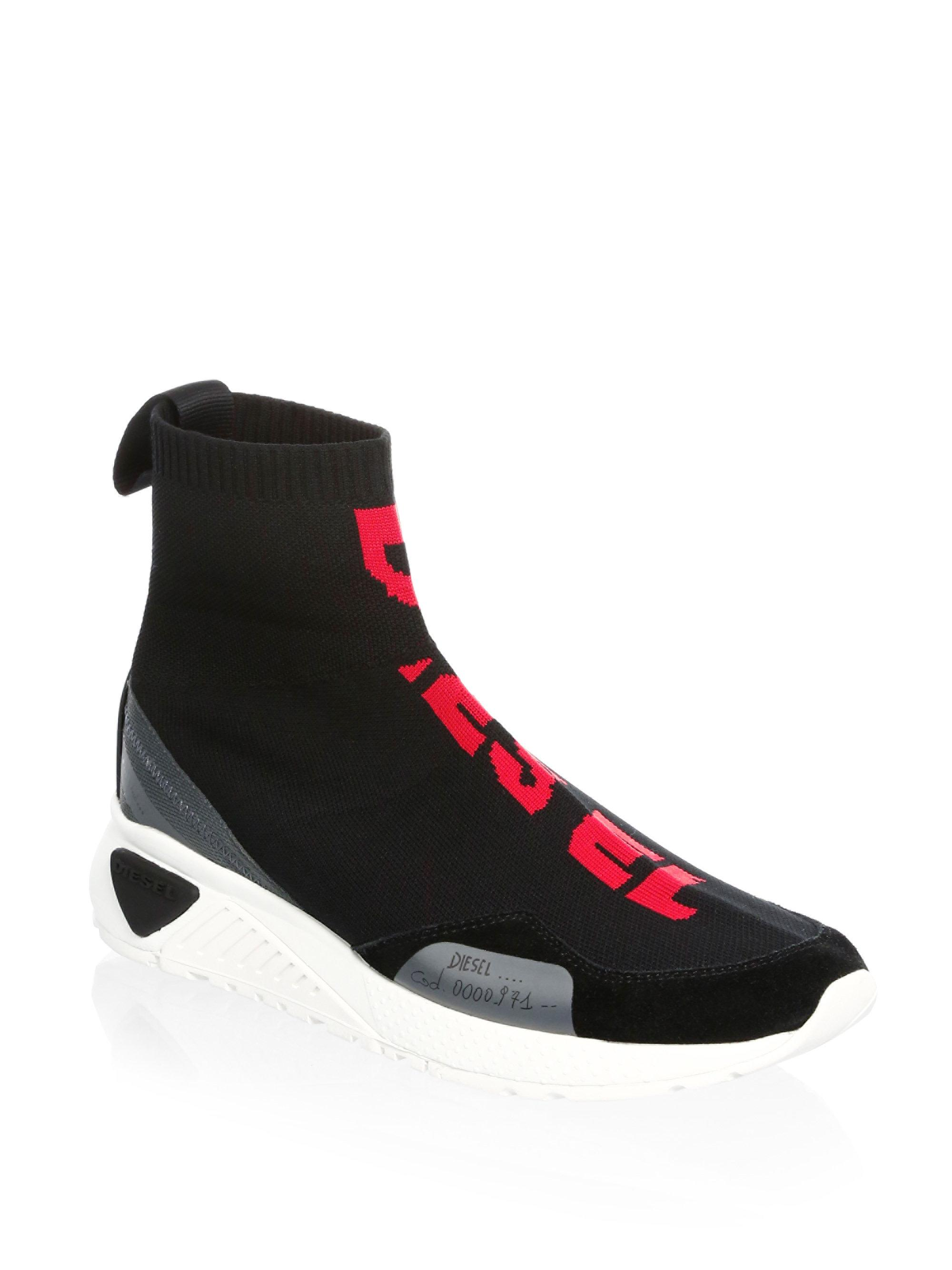 Lyst Diesel Mid Sock Sneakers In Black For Men
