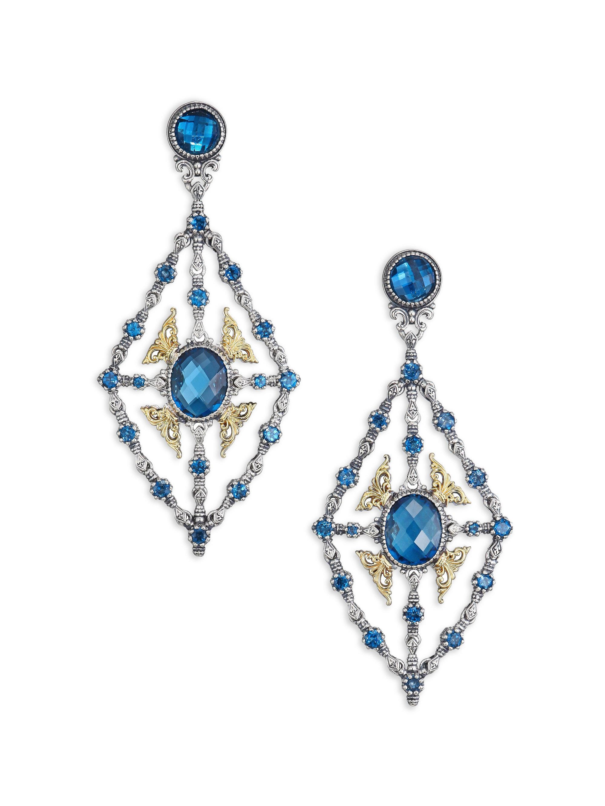 Lyst konstantino thalassa london blue topaz 18k yellow gold gold sterling silver chandelier earrings view fullscreen arubaitofo Image collections