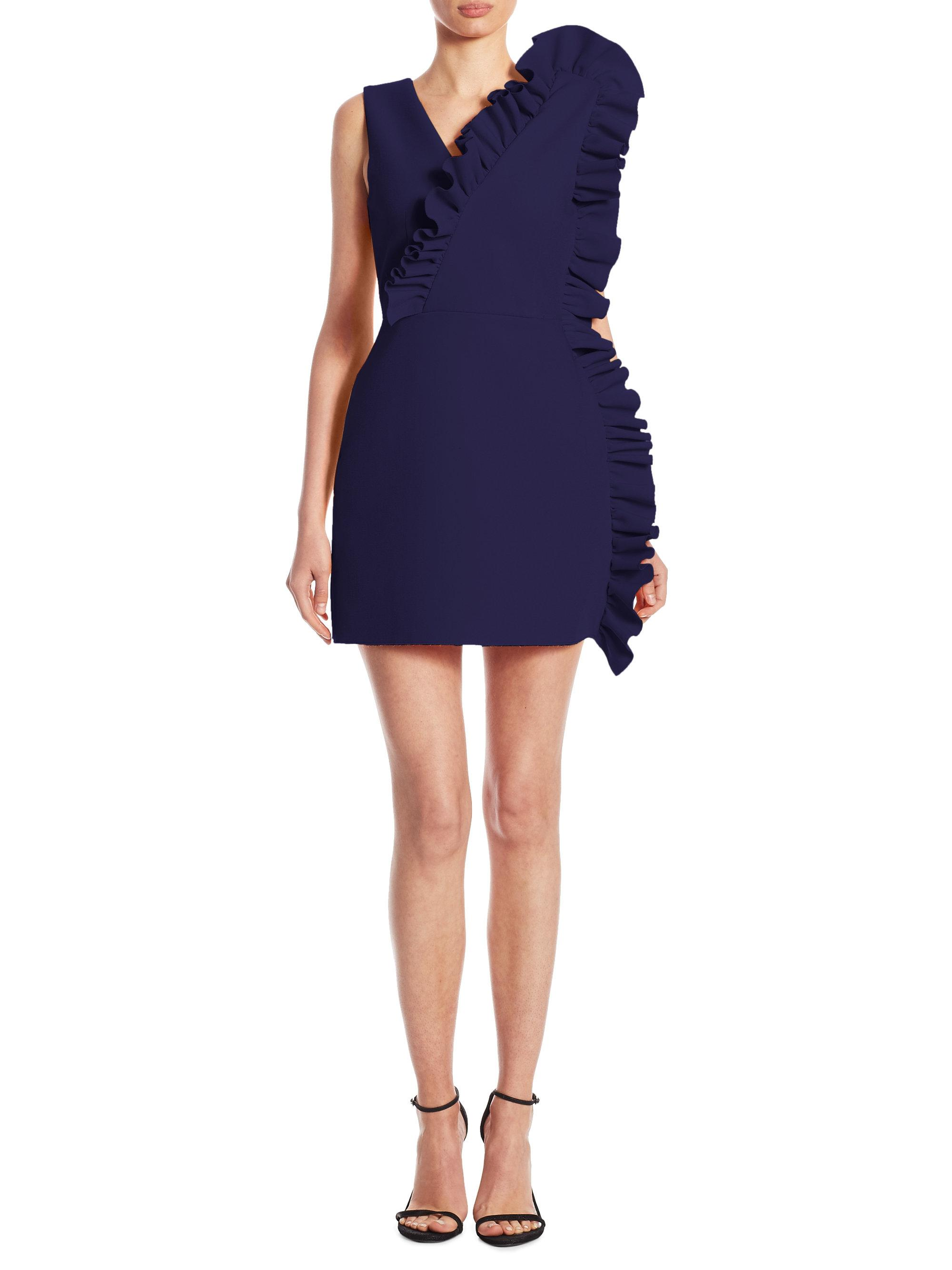 1ec632aa2c57 MSGM V-neck Ruffle Dress in Blue - Lyst