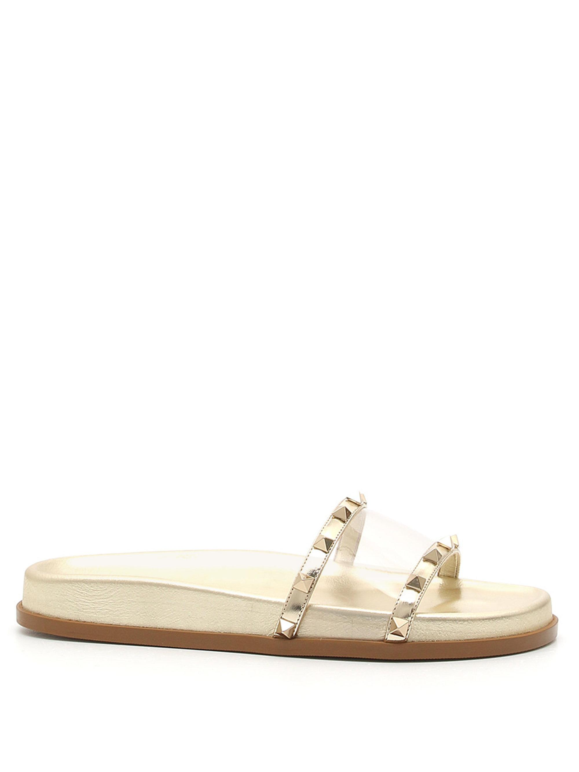 Valentino Women S Moonwalk Studded Slides Gold Size 37