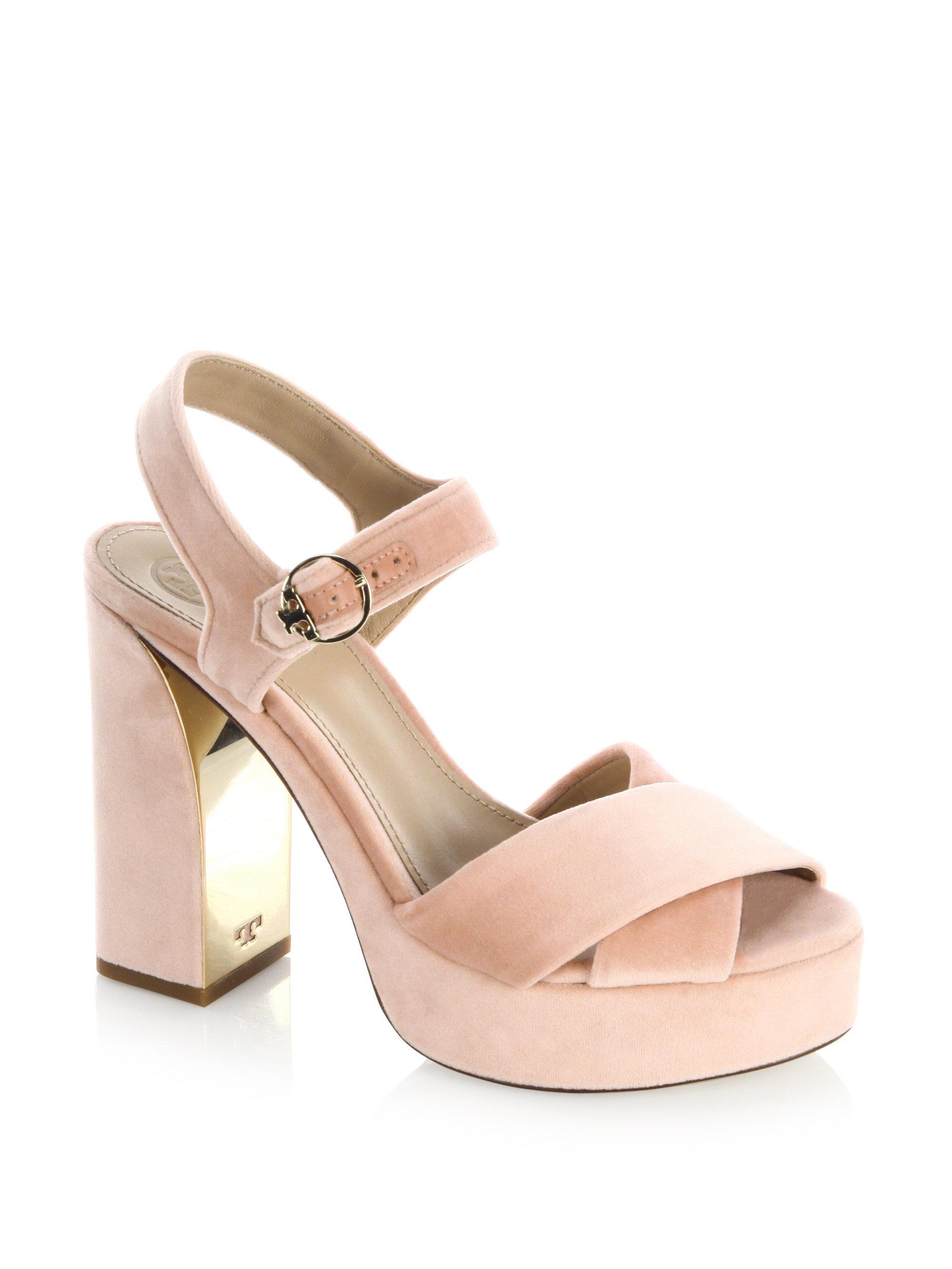 62077708f8bfa Lyst - Tory Burch Loretta Velvet Platform Sandal in Pink