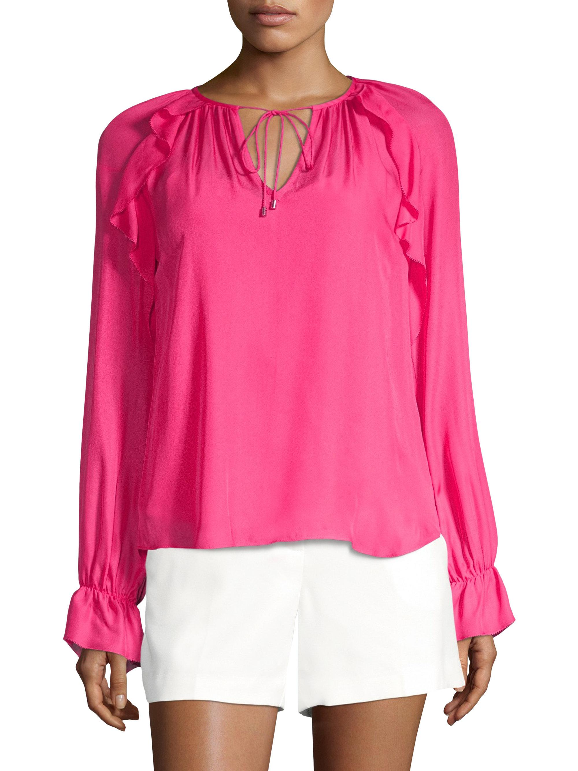 560dce504fb4bb Lyst - Trina Turk Magnolia Lace-up Silk Blouse in Pink