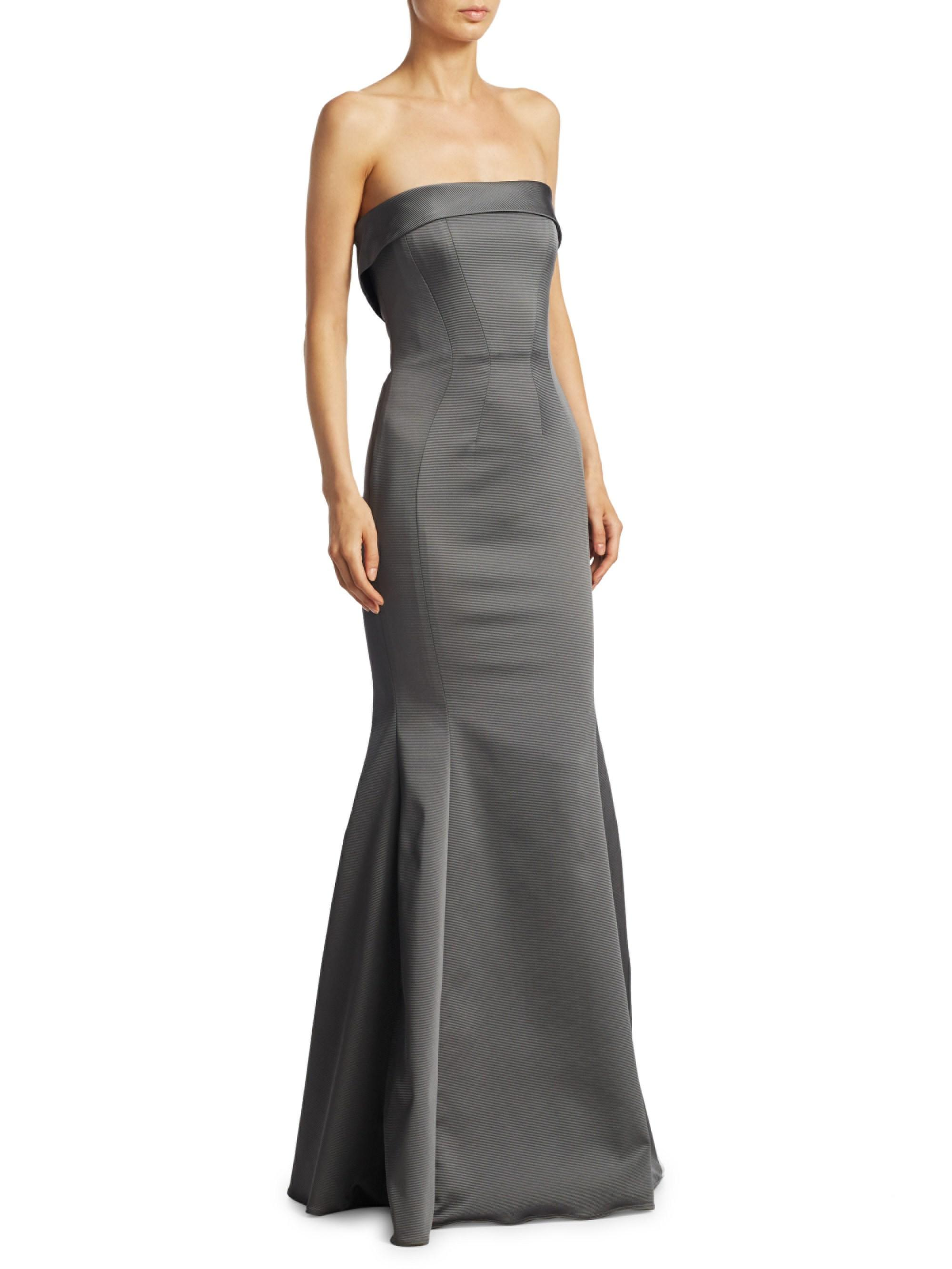 b9c305422c71 Lyst - Zac Zac Posen Women's Stretch Faille Mermaid Gown - Grey ...