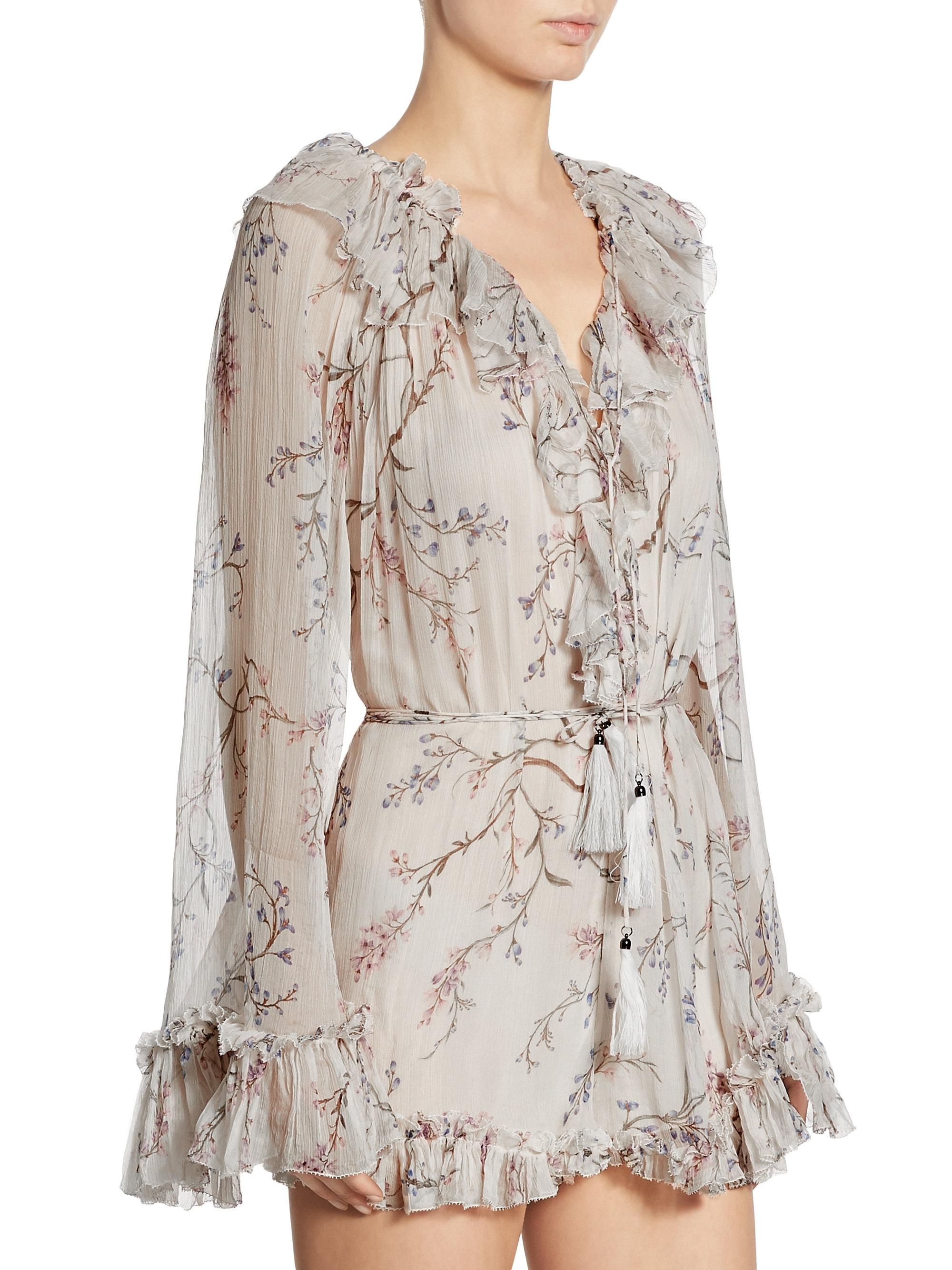 3d550683ad8 Lyst - Zimmermann Paradiso Ruffled Floral-print Silk Romper in Natural