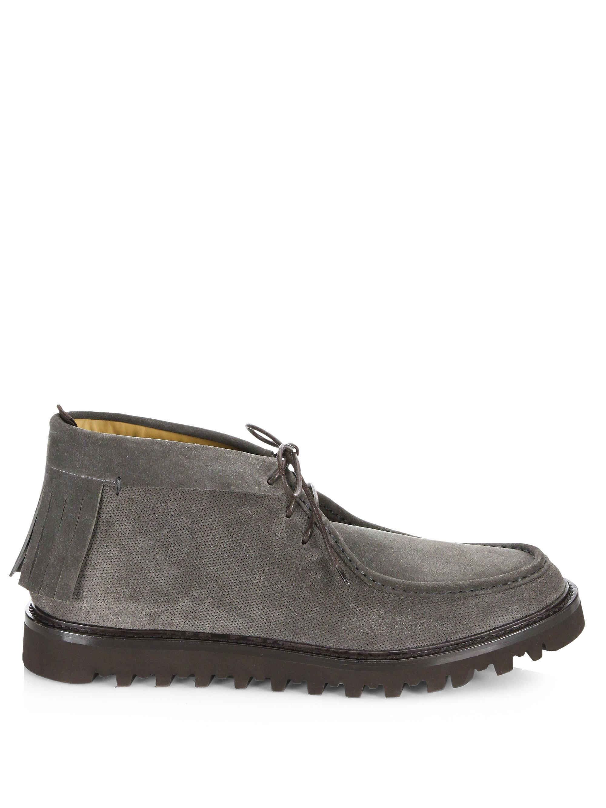 Armani Thick Sole Leather Chukka Moccasins HThJcpE