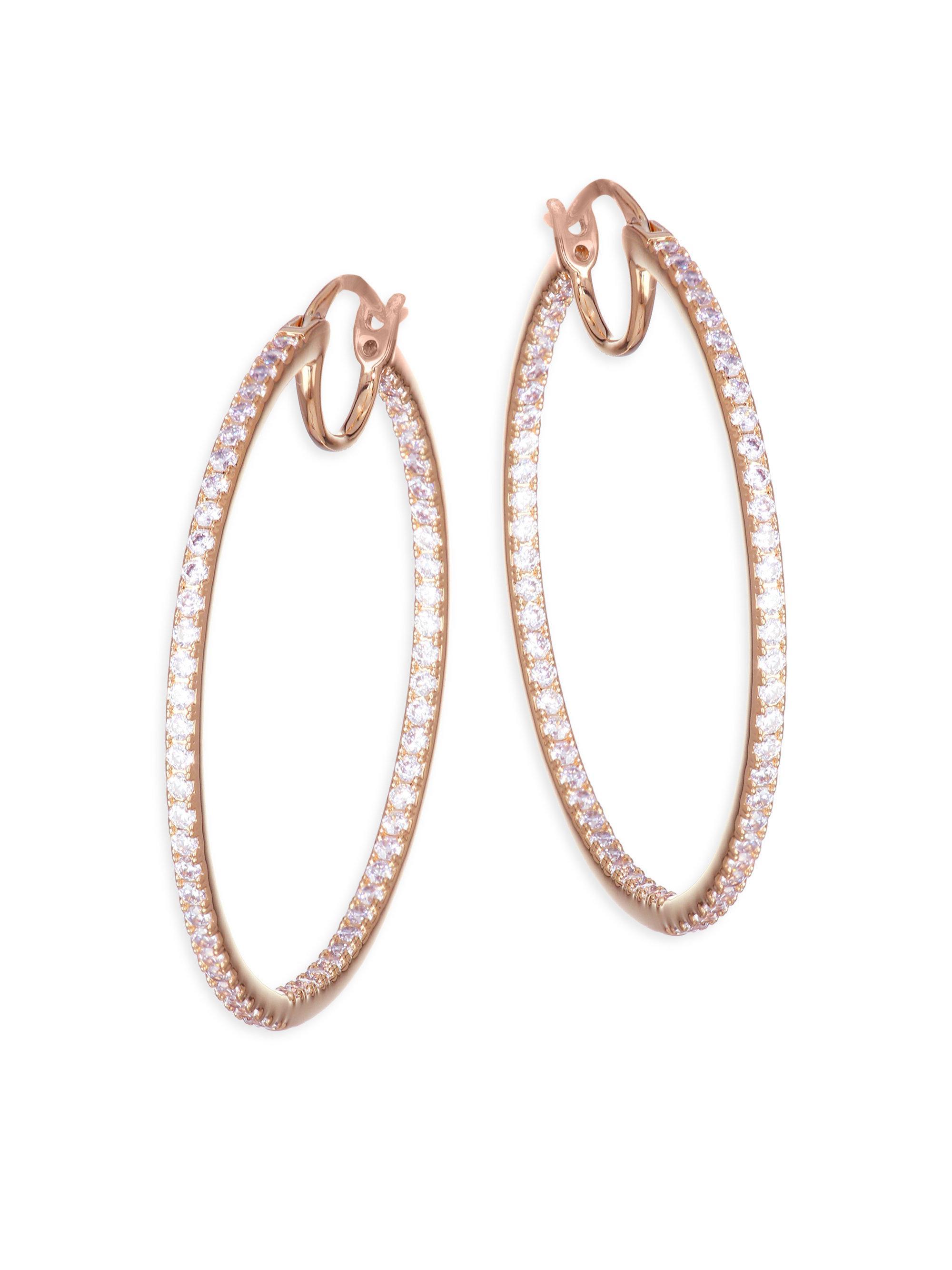 52e3254e2926f Lyst - Adriana Orsini Pavé Crystal Hoop Earrings in Metallic