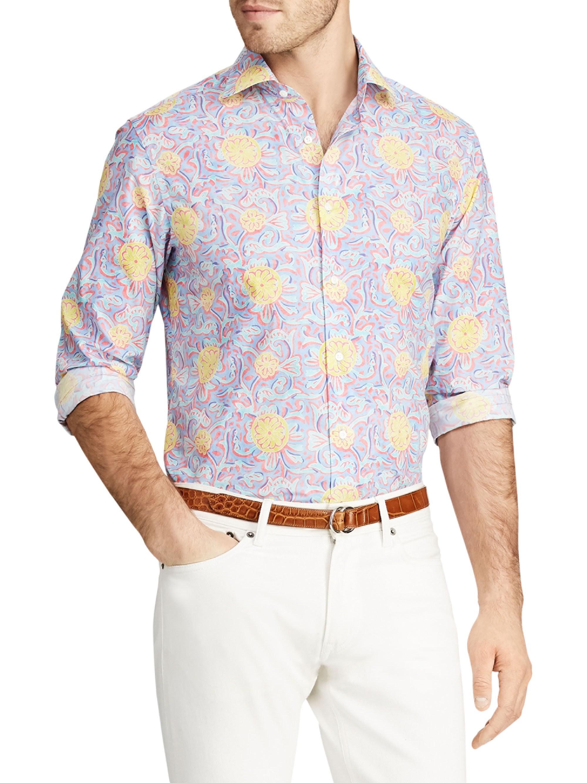 e255d5e0f7 Lyst - Ralph Lauren Purple Label Bend Back Floral Button-down Shirt ...
