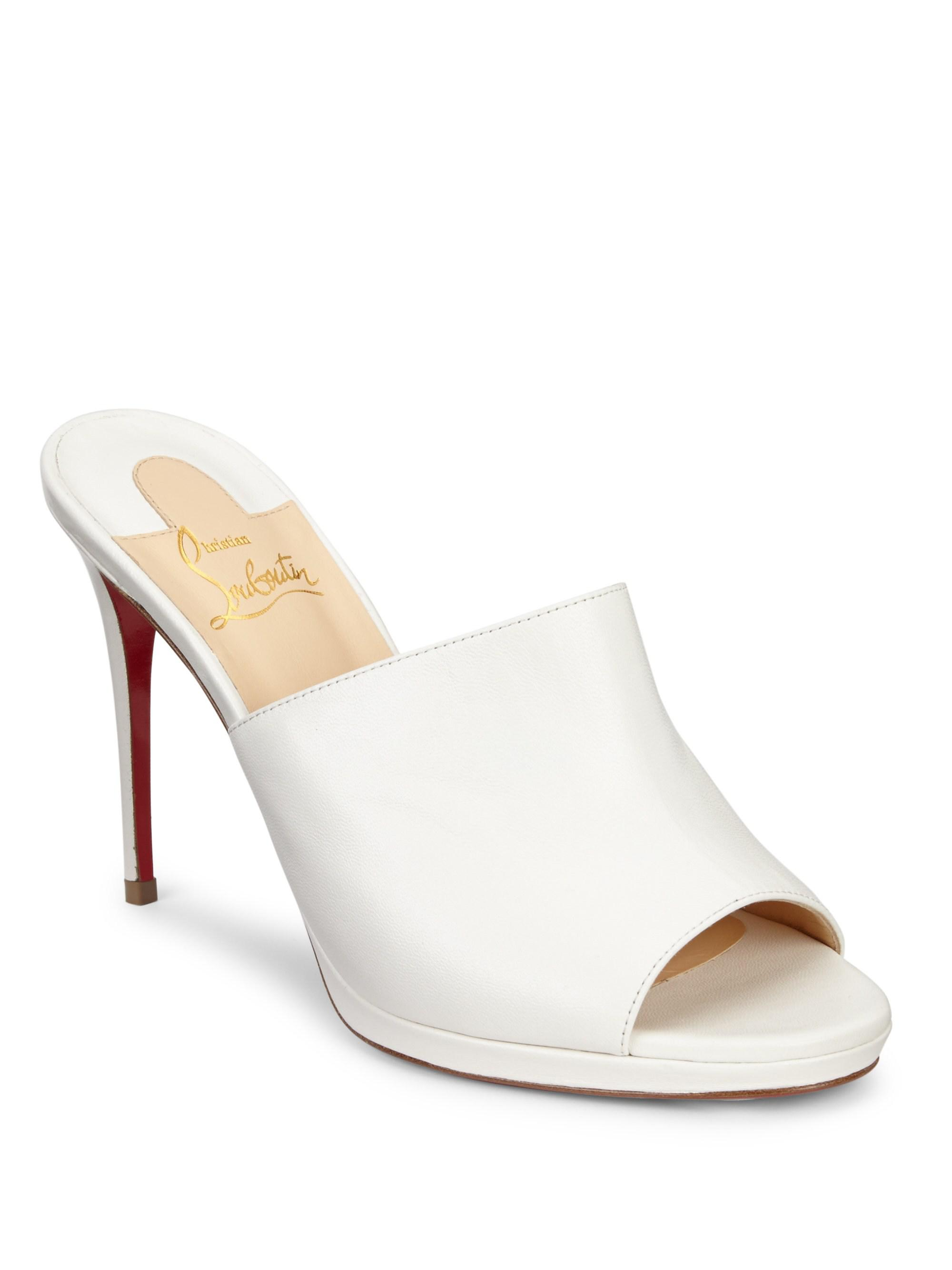 dcb0fac7f103 Lyst - Christian Louboutin Pigamule 100 Leather Mules in White