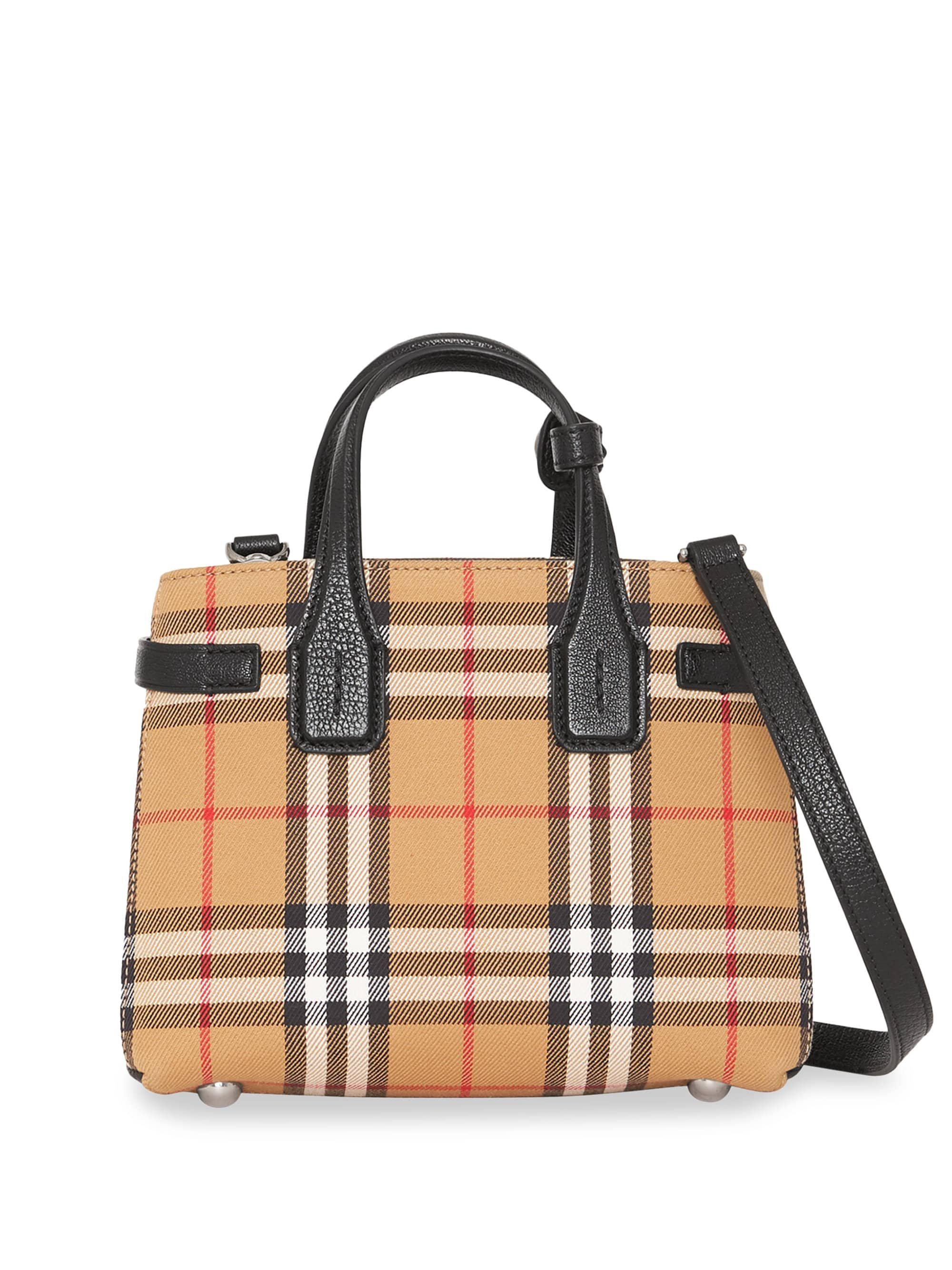 Burberry Baby Banner Vintage Check Leather Satchel - Lyst 9317f7de3001a