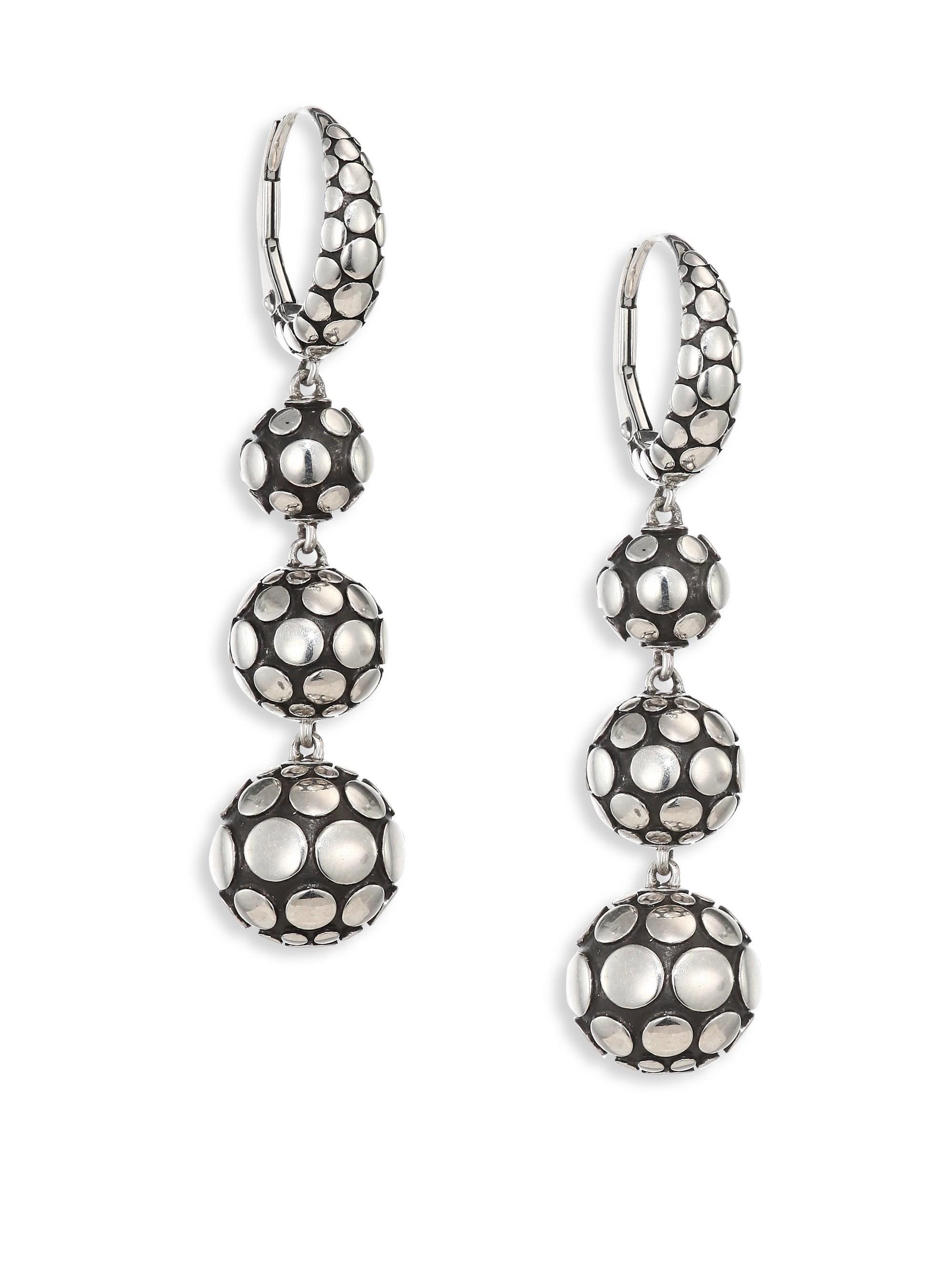 3d993a604 Lyst - John Hardy Dot Triple Drop Earrings in Metallic