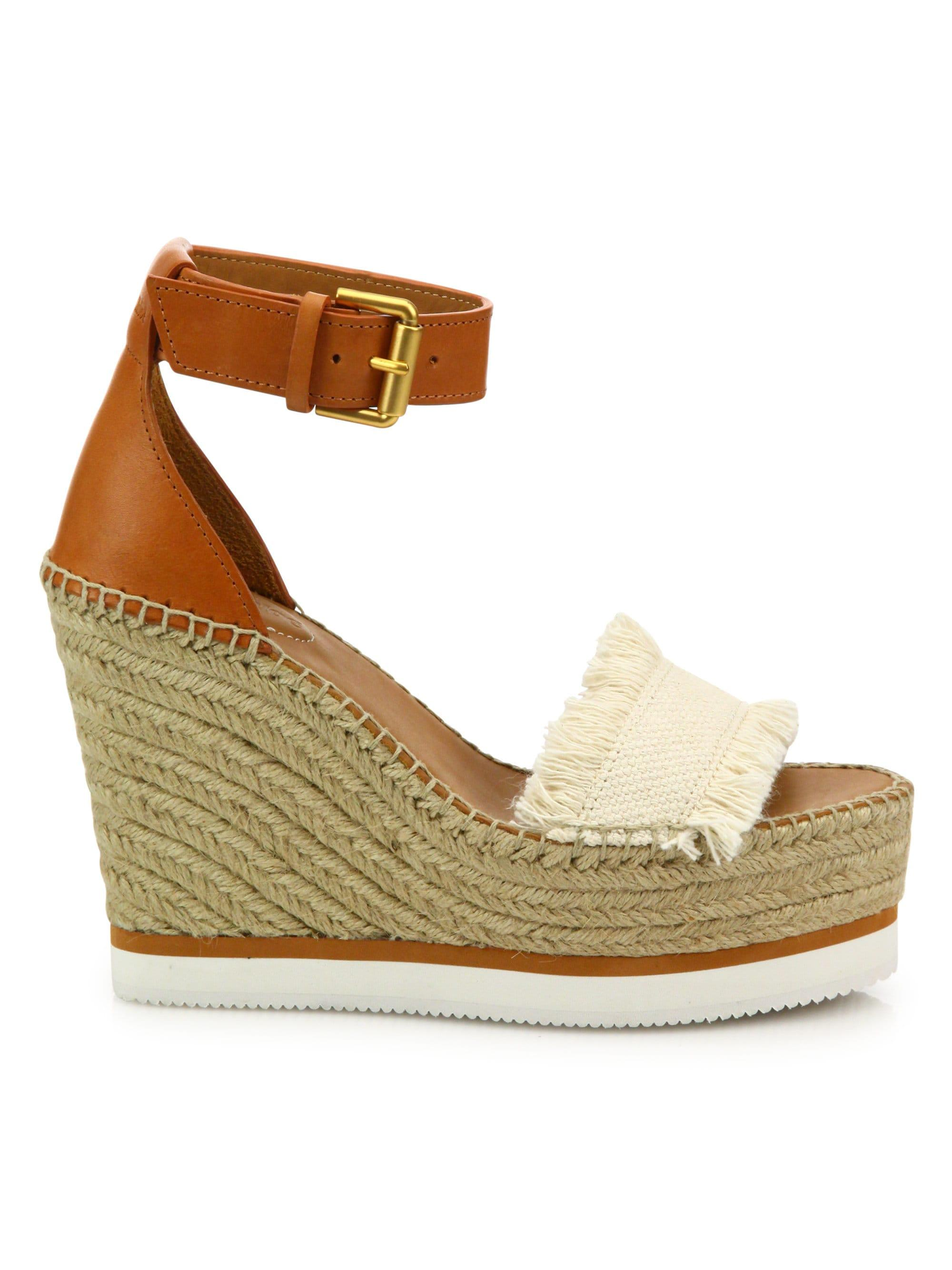 78464132be See By Chloé Women's Glyn Leather & Frayed Canvas Espadrille Wedge ...