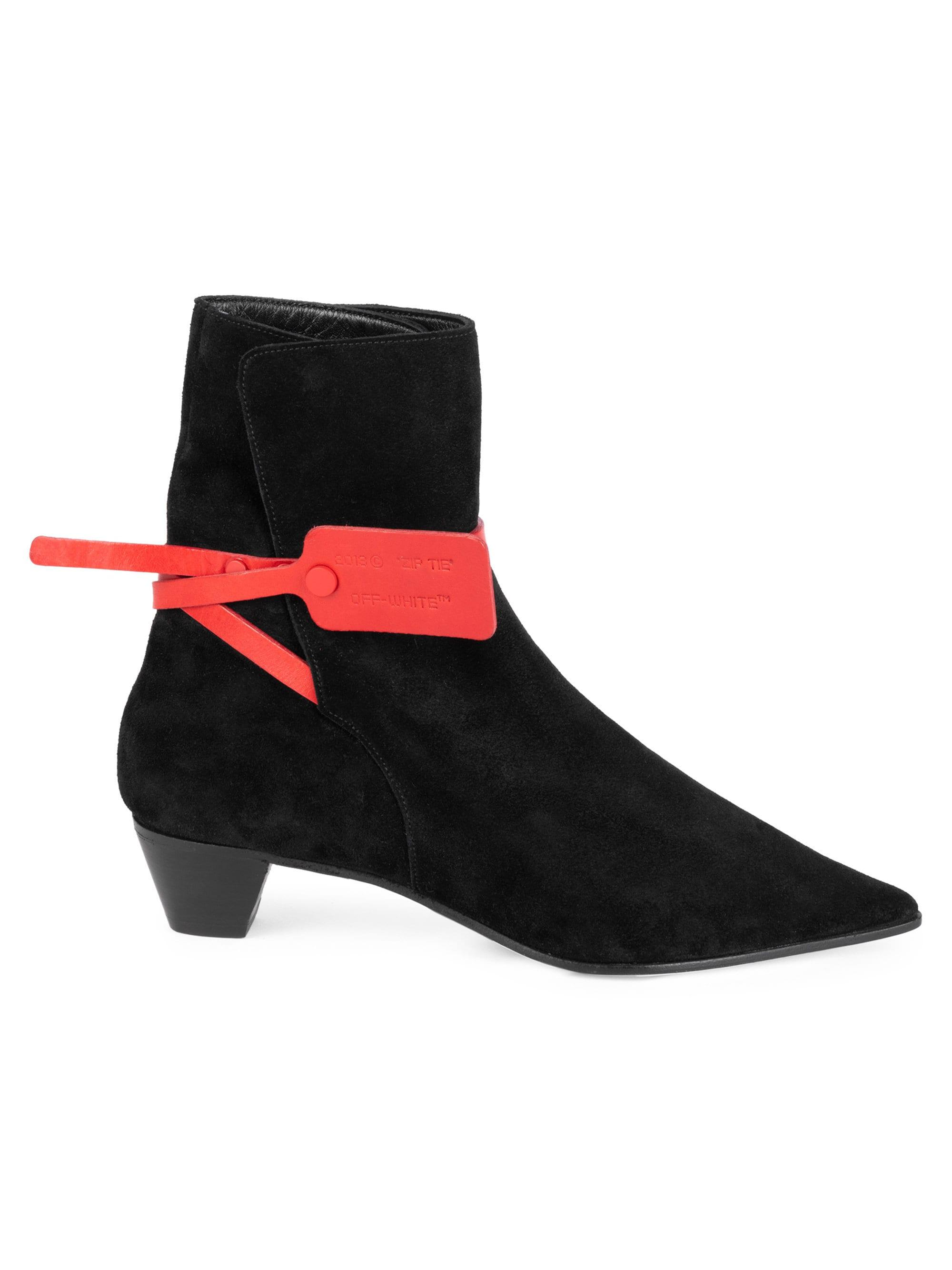9cb4e753e03a Off-White c o Virgil Abloh Zip-tie Jodhpur Suede Pointed Booties in ...