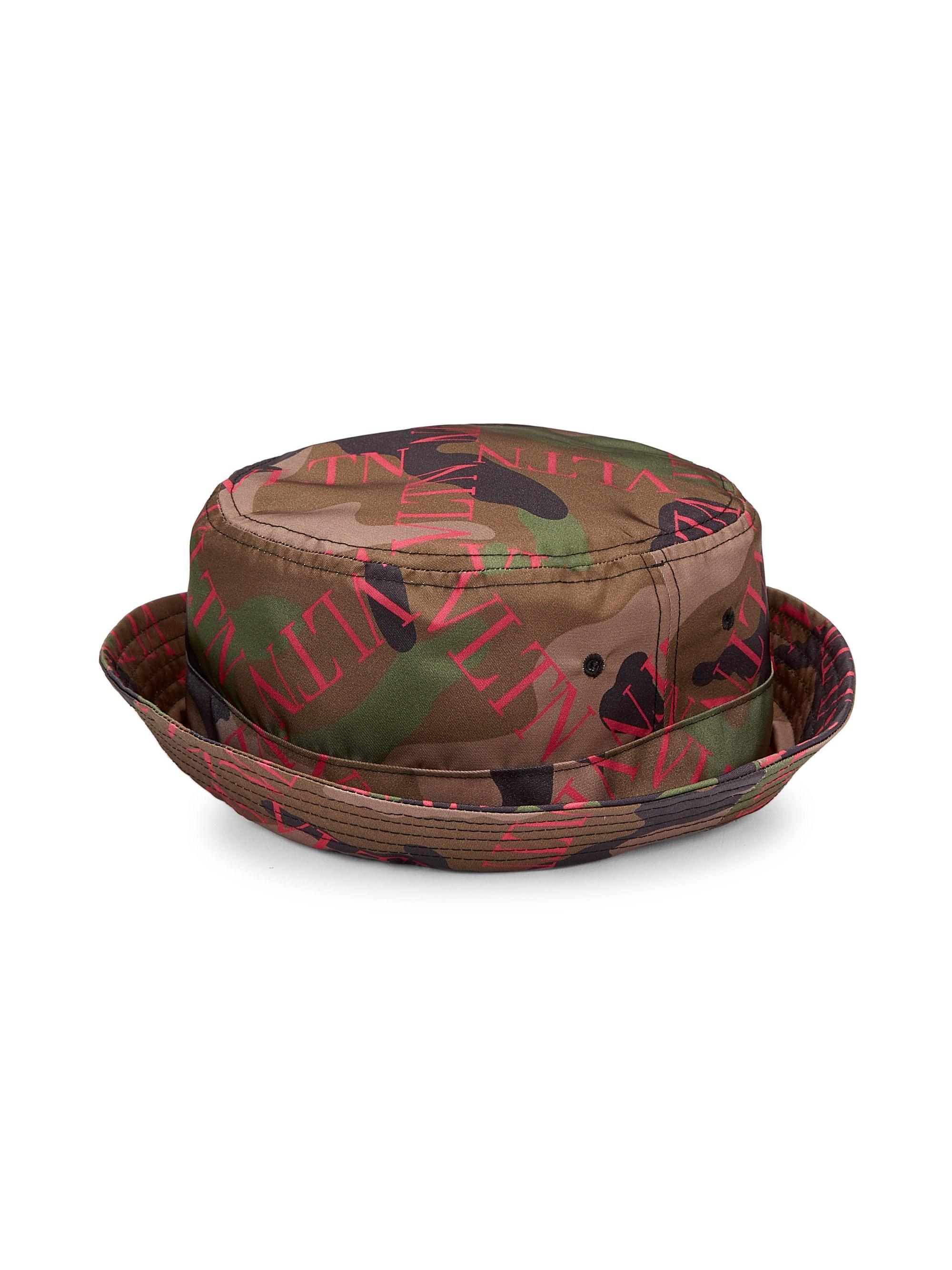 90944221dec Lyst - Valentino Men s Logo Camo Bucket Hat - Army Green Pink - Size ...