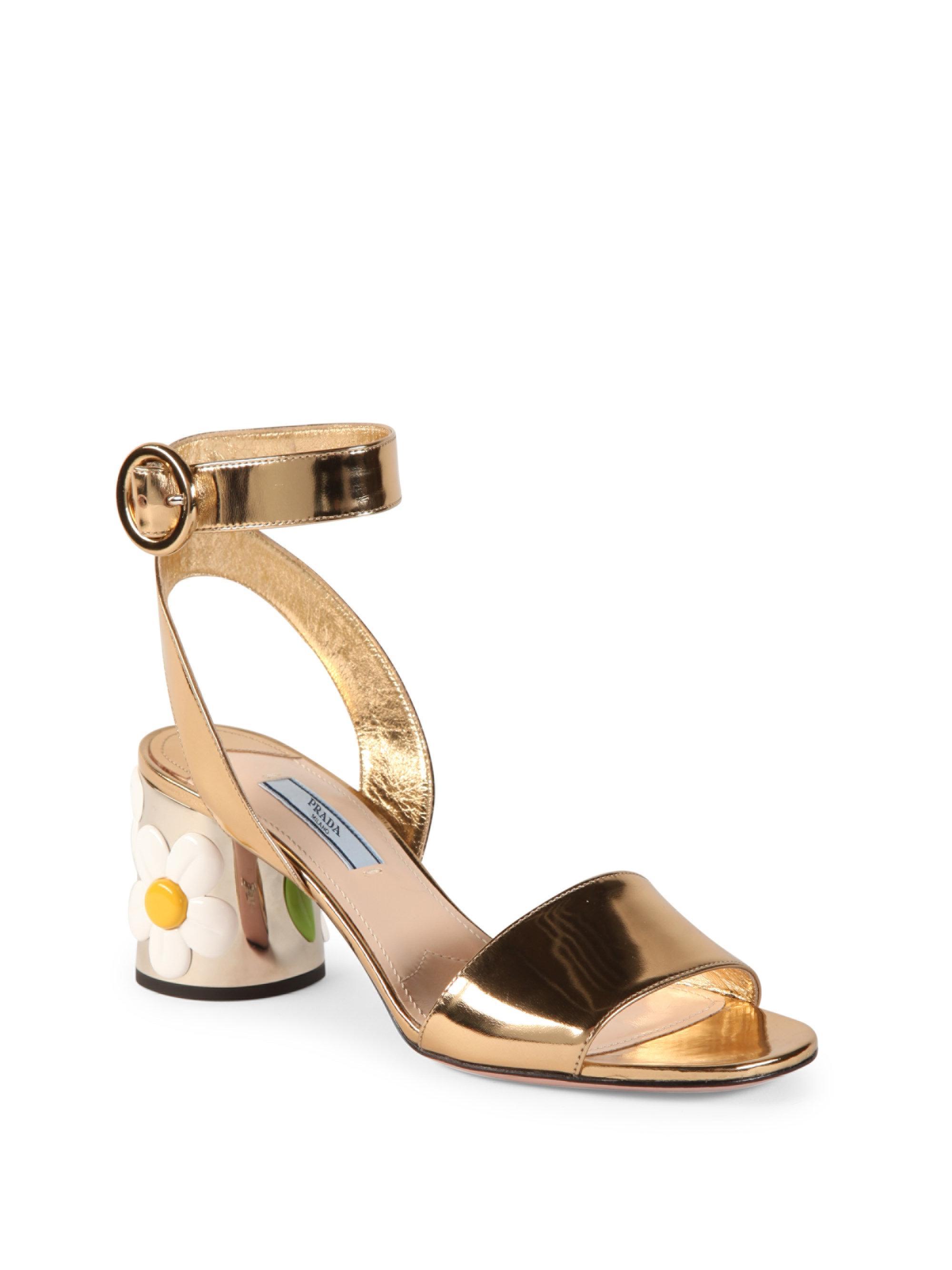 e3b8b9a0edee Lyst - Prada Flower-heel Metallic Leather Ankle-strap Sandals in ...