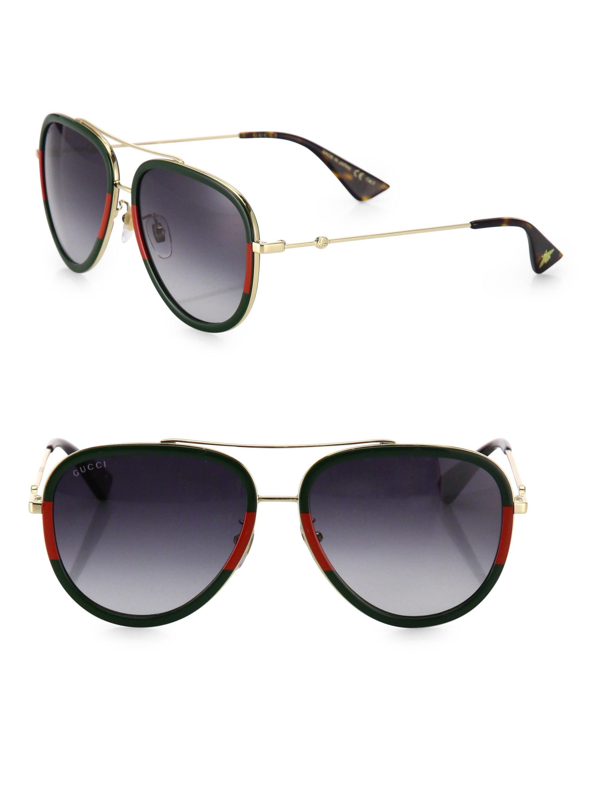 2b8c7879693 Lyst - Gucci 57mm Tortoise Pilot Sunglasses in Metallic for Men